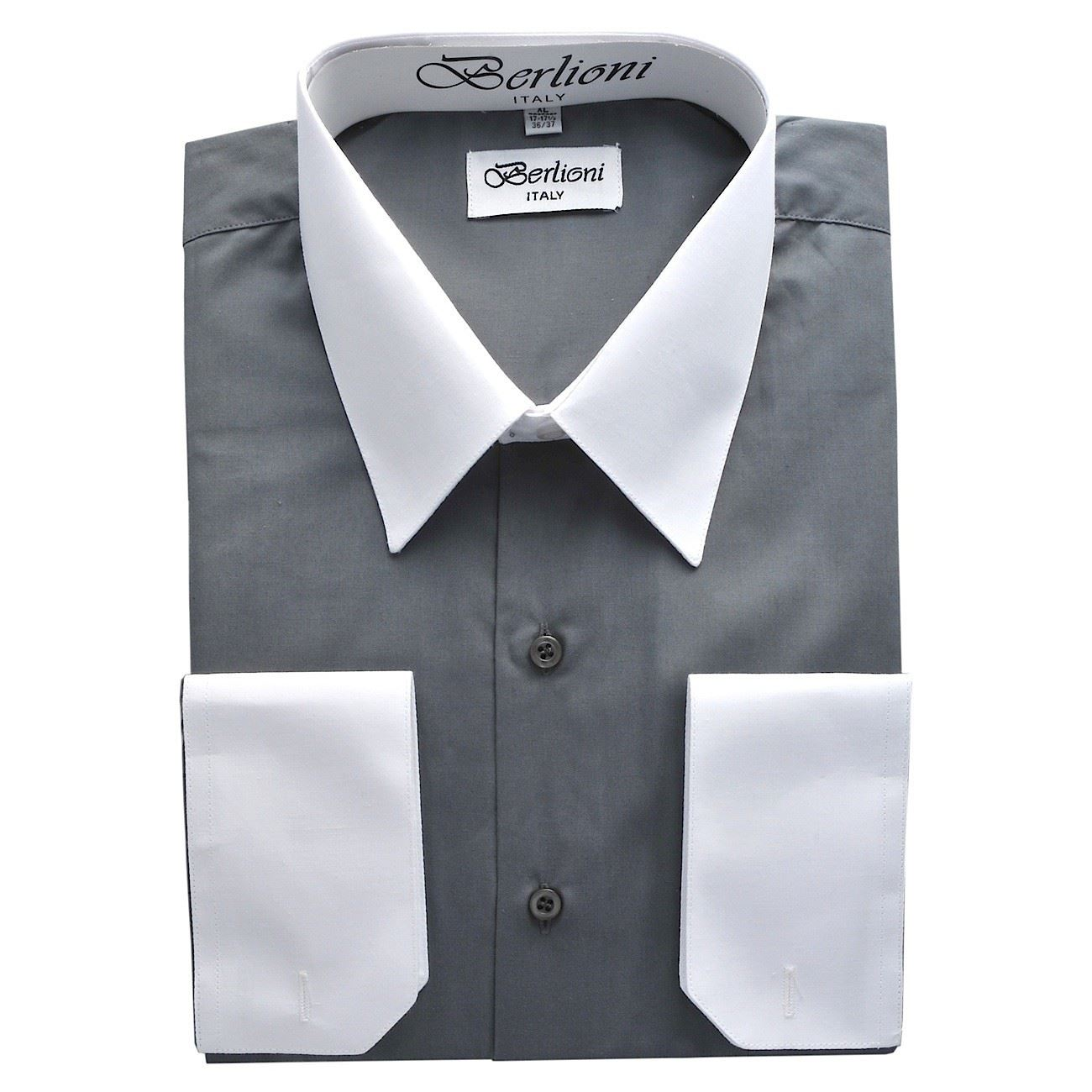 Mens dress shirt with colored cuffs and collars