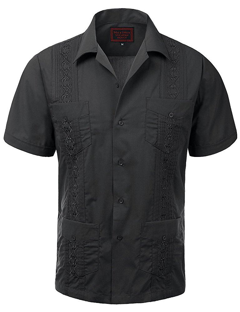 MAXIMOS-MEN-039-S-SHORT-SLEEVE-BUTTON-UP-CUBAN-GUAYABERA-DRESS-SHIRT thumbnail 25