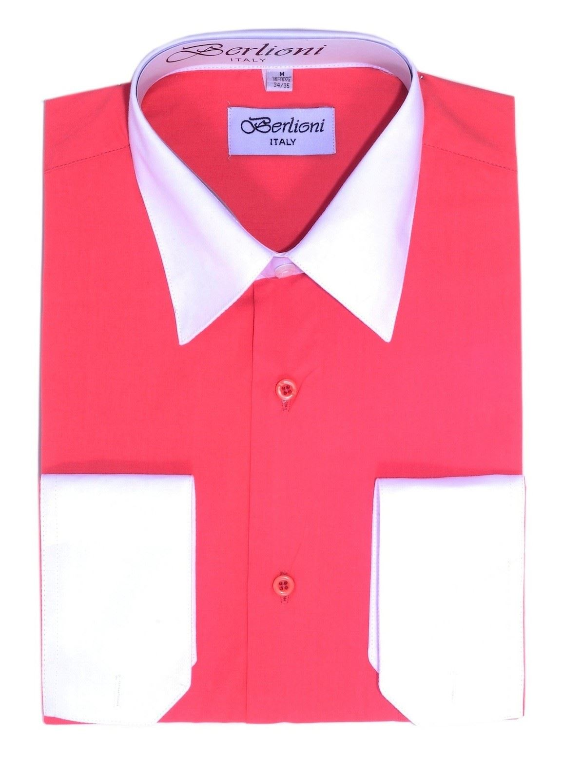 BERLIONI MEN/'S ITALY DRESS SHIRT TWO TONE SHIRT FRENCH CONVERTIBLE CUFF LEMON