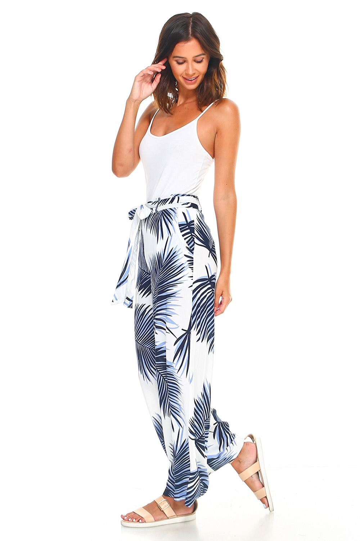 chiusura larga Up Pantaloni Tie Geman Leaf a Zip Self Waist tropicale Leaf gamba Women's Cwxgqw1