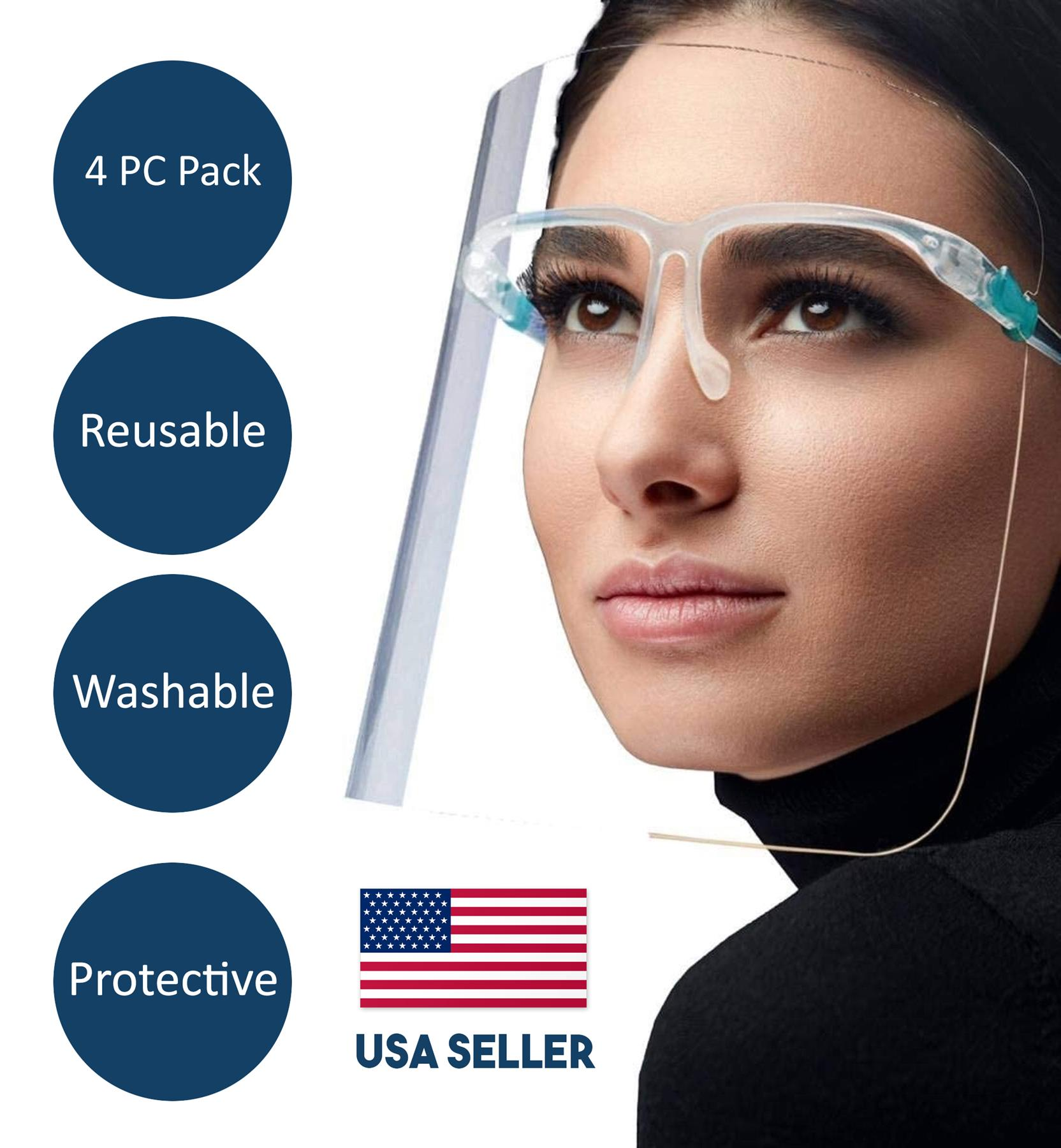 6 PC Unisex Reusable Goggle Facial Covering Clear Transparent Face Visor for Man and Women.