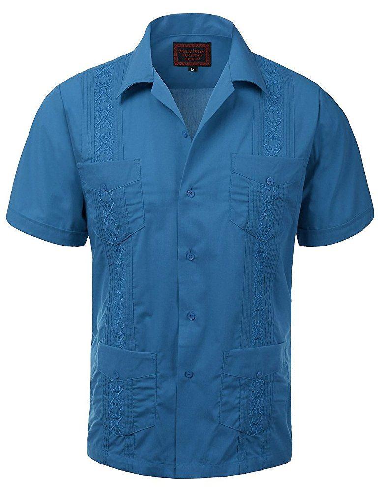 MAXIMOS-MEN-039-S-SHORT-SLEEVE-BUTTON-UP-CUBAN-GUAYABERA-DRESS-SHIRT thumbnail 5
