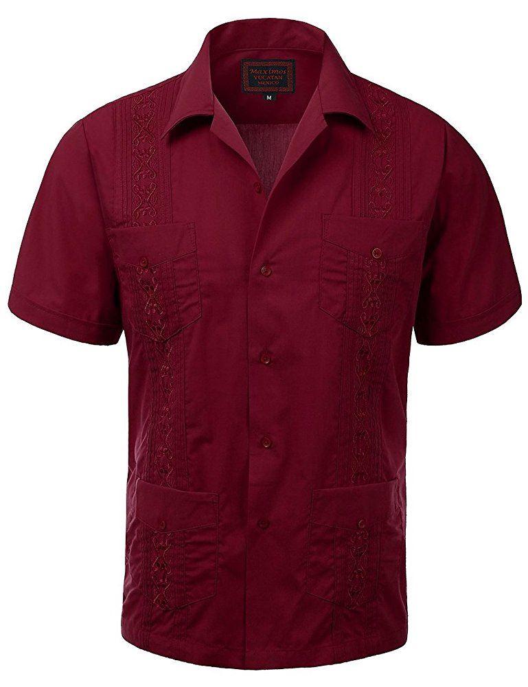 MAXIMOS-MEN-039-S-SHORT-SLEEVE-BUTTON-UP-CUBAN-GUAYABERA-DRESS-SHIRT thumbnail 26