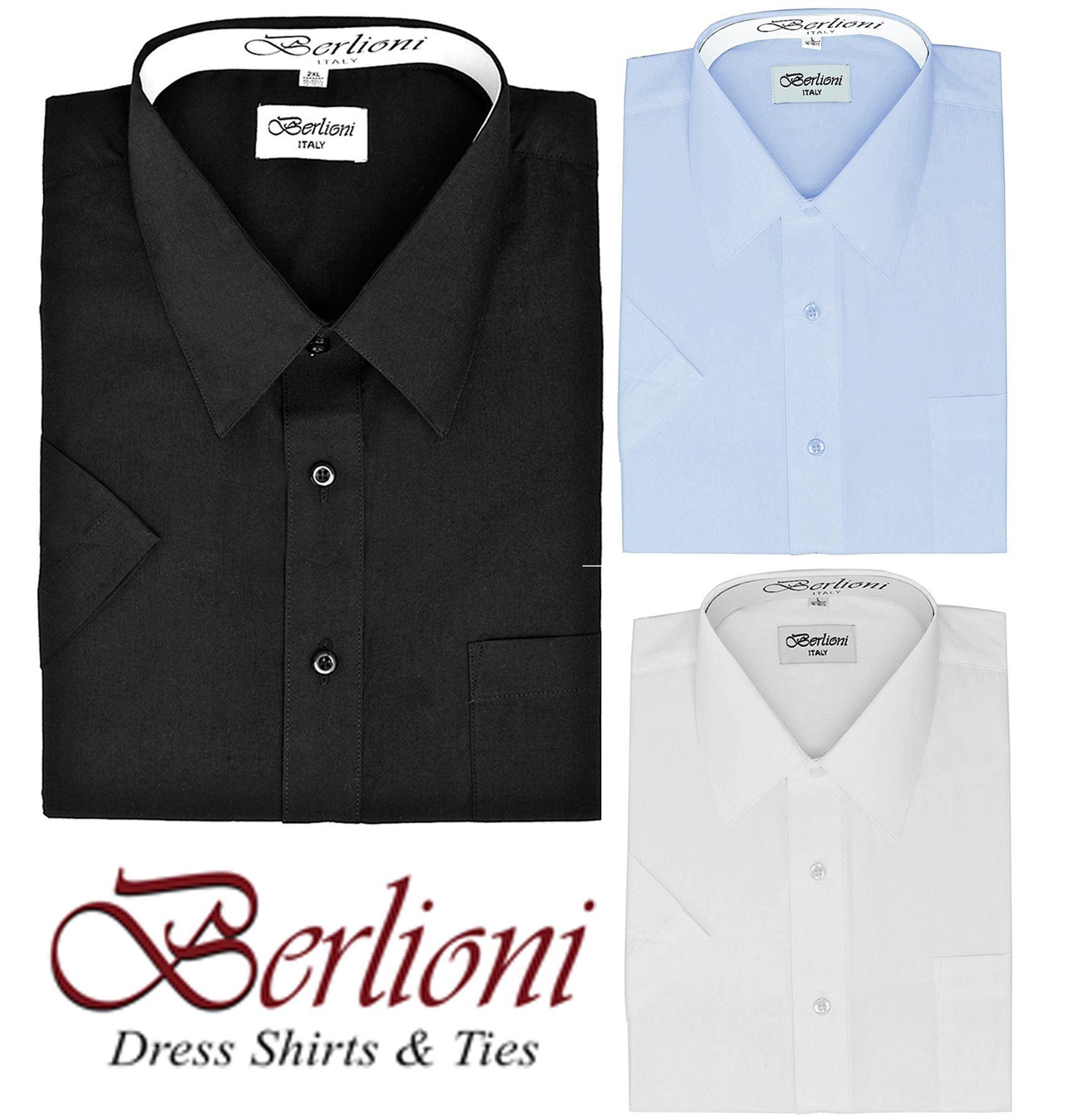 BERLIONI MEN/'S BASIC SHIRT SHORT SLEEVE BUTTON DOWN DRESS SHIRT BLACK X-LARGE