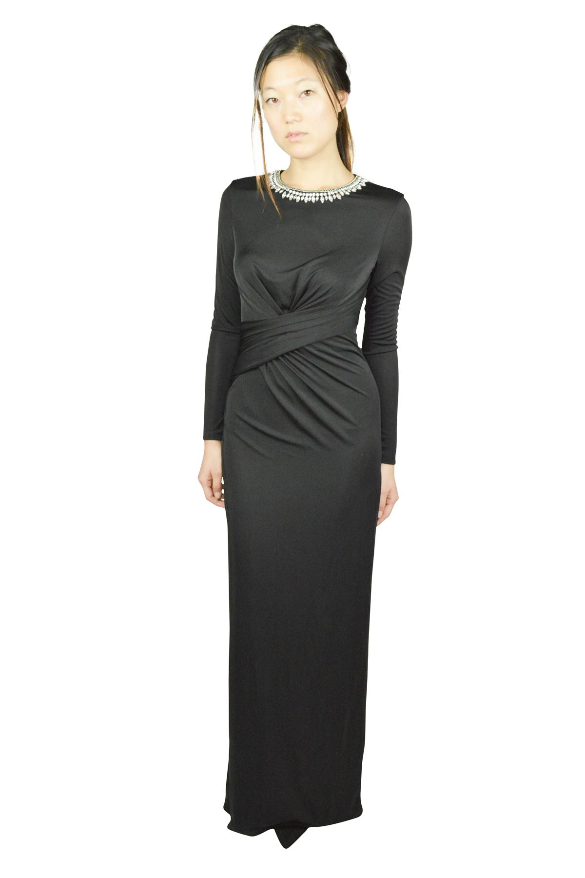 f88edaecfb492 Details about TED BAKER LONDON WOMEN S EMMELISHED MAXI DRESS LONG SLEEVES  NIGHT FORMAL BLACK 0
