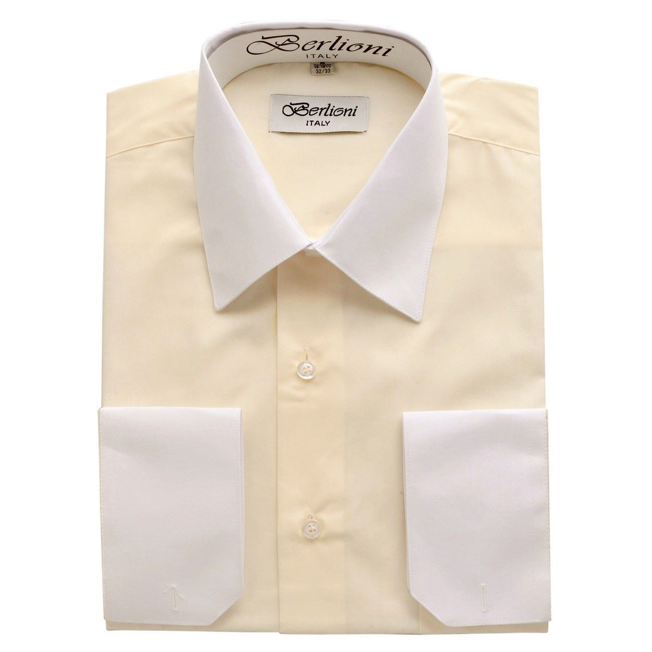 f70cadeb816 Details about NEW BERLIONI ITALY TWO TONE MEN S DRESS SHIRT FRENCH  CONVERTIBLE CUFF OFF WHITE