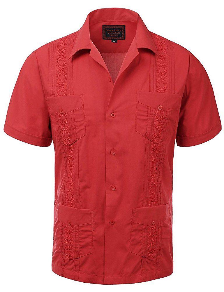 MAXIMOS-MEN-039-S-SHORT-SLEEVE-BUTTON-UP-CUBAN-GUAYABERA-DRESS-SHIRT thumbnail 7