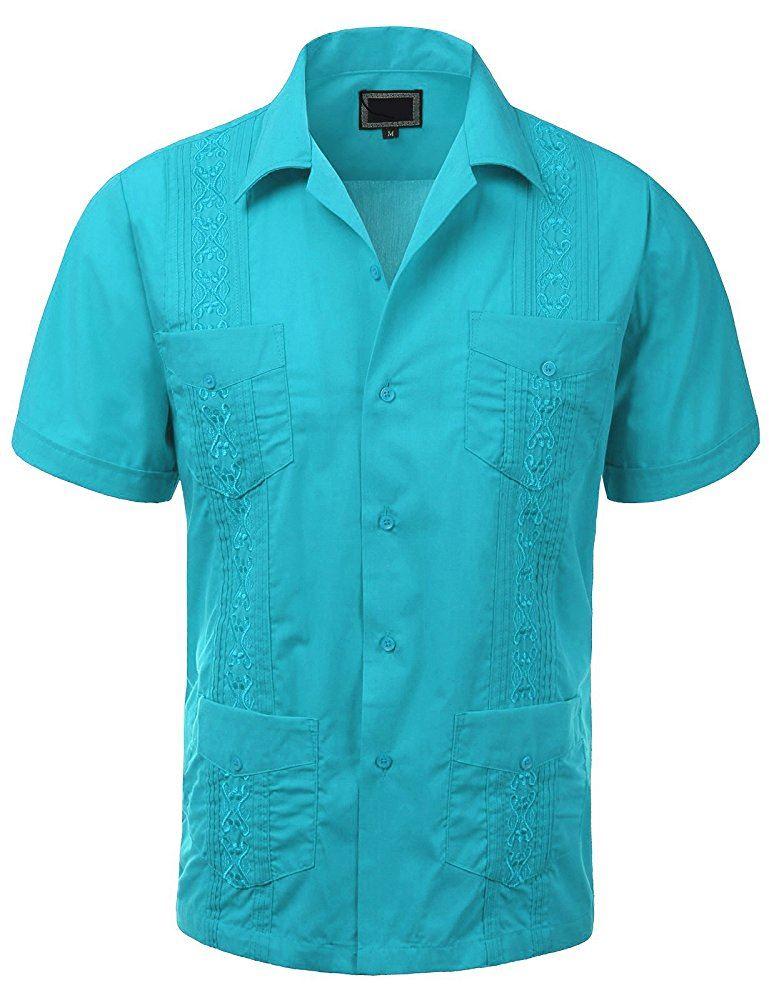 MAXIMOS-MEN-039-S-SHORT-SLEEVE-BUTTON-UP-CUBAN-GUAYABERA-DRESS-SHIRT thumbnail 24