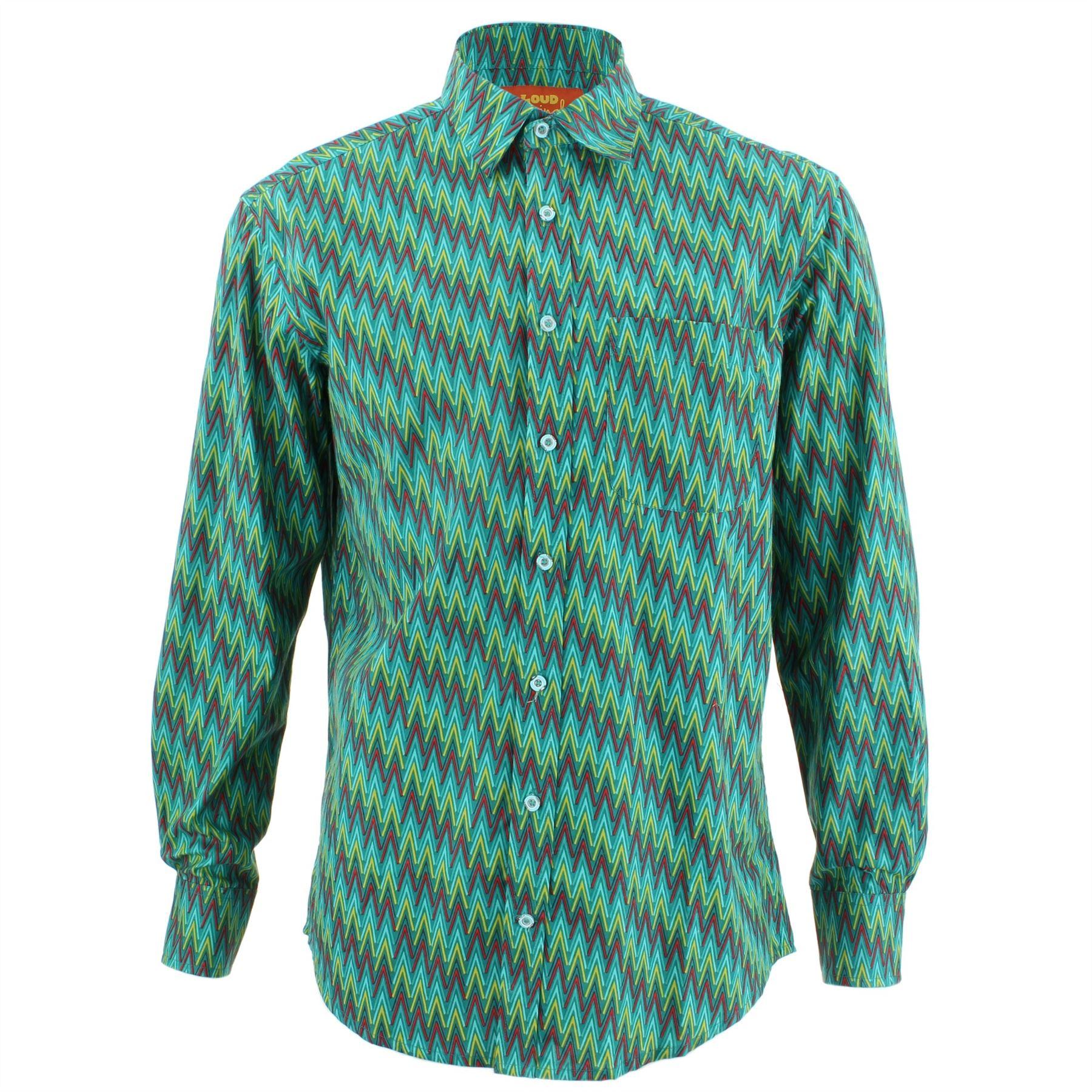 Men/'s Loud Shirt REGULAR FIT Zig Zag Green Retro Psychedelic Fancy
