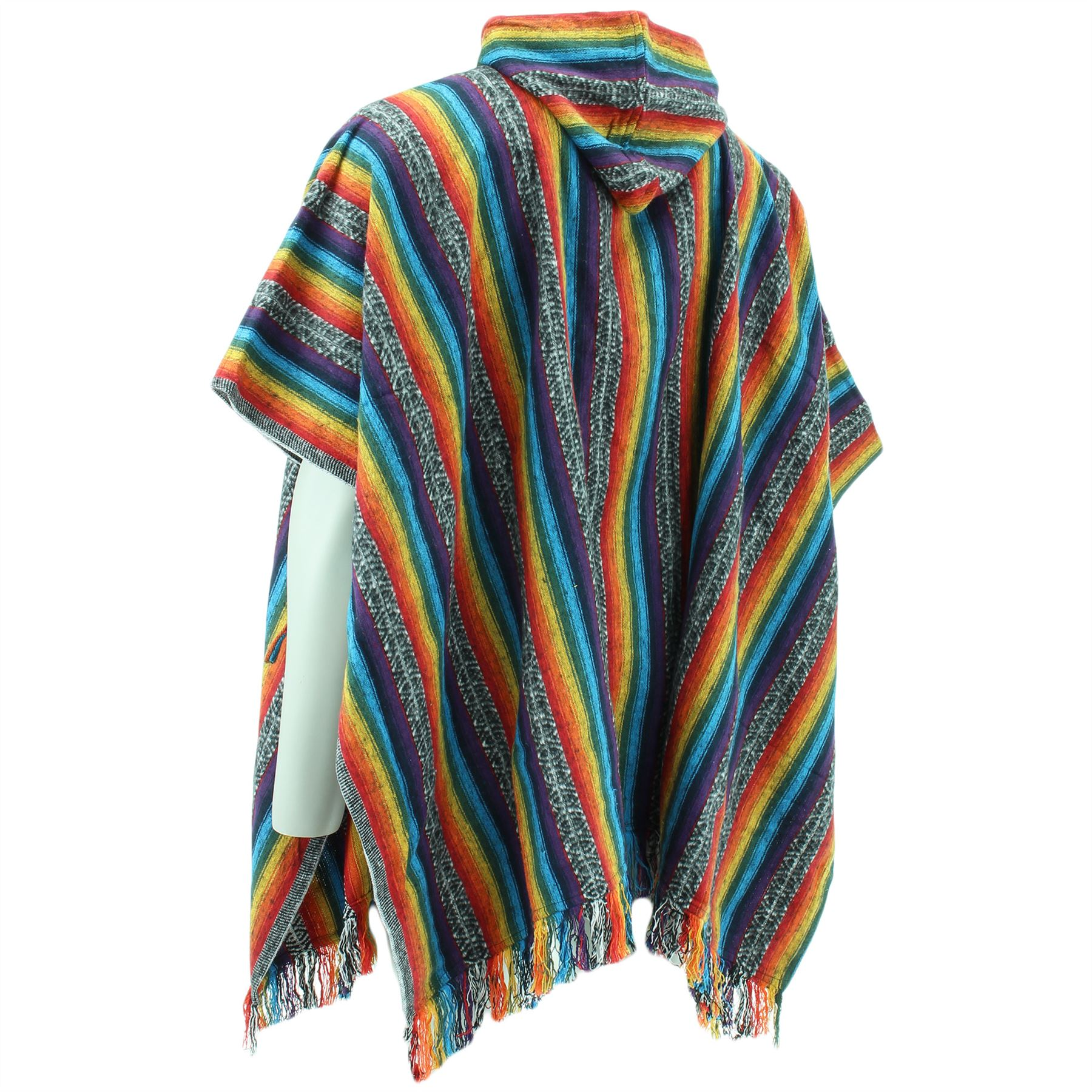 HIPPIE HOODIE PONCHO SHORT ETHNIC MEXICAN STYLE GHERI COTTON FESTIVAL CAMPING