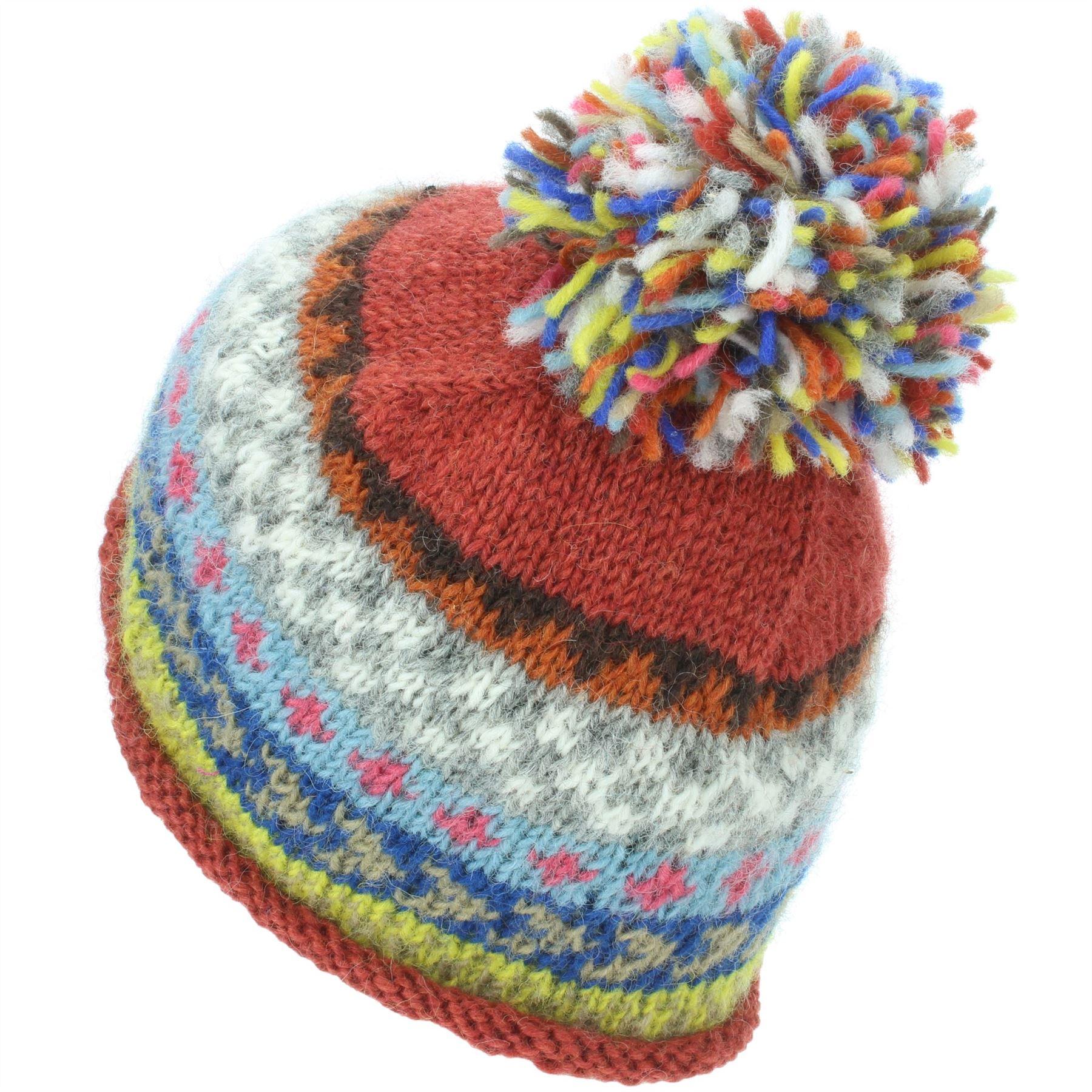 9b030b080b748c Wool Hat Knit Beanie Bobble Ski Chevron Black Orange Pink Blue ...