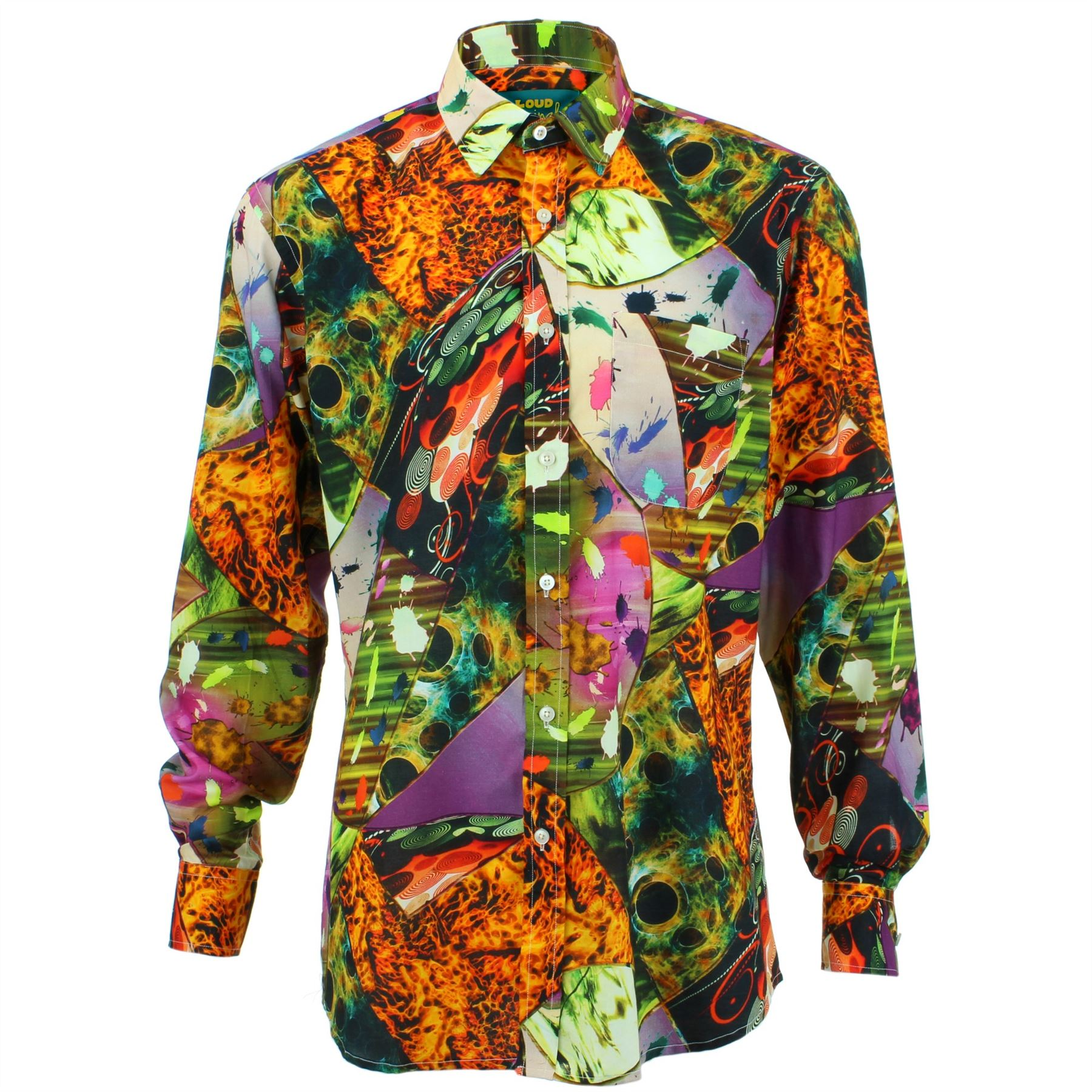 vendita calda online 5da33 bf7ed Dettagli su Uomo Loud Camicia Regular Fiamme Arancione Rétro Psichedelico  Stravagante