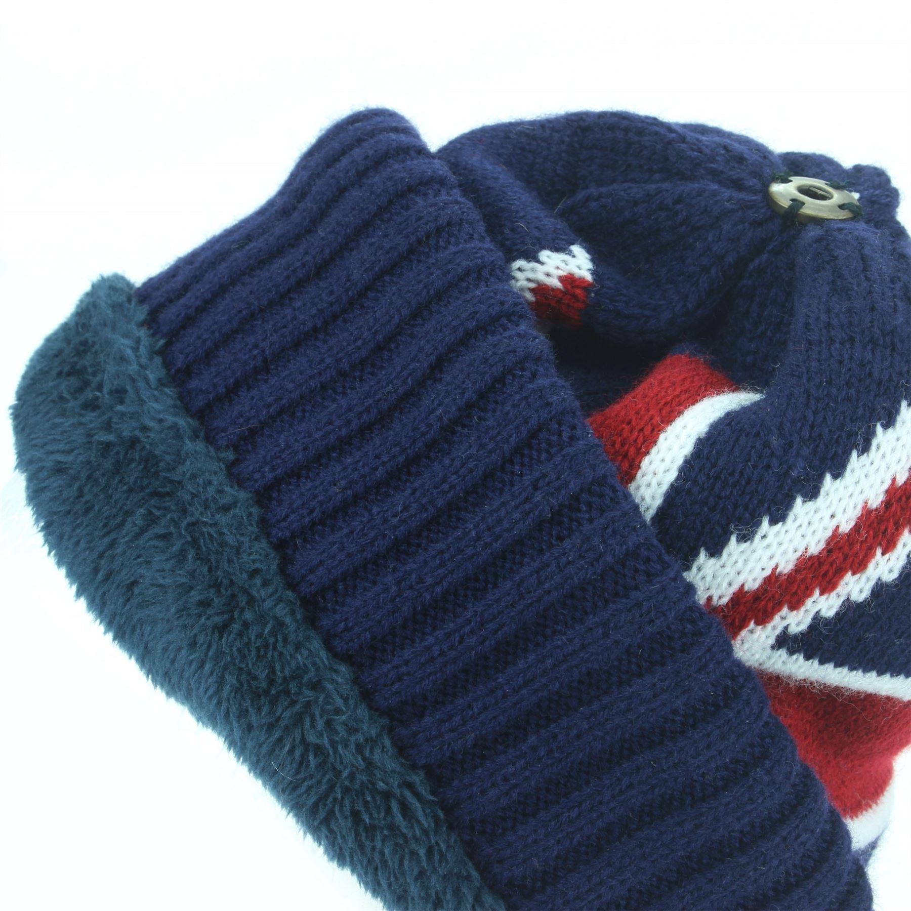 c170ef879f282 Beanie Hat Cap Fur Bobble Warm Winter UNION JACK Macahel Soft Lining ...