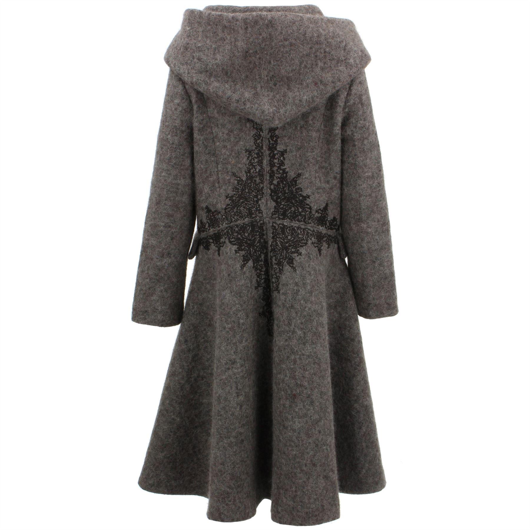 check out 3b44b 6d1e9 Details zu Ladies Wool Winter Coat Jacket BOHEMIA SWEDEN Woven Wool-rich  blend Hood
