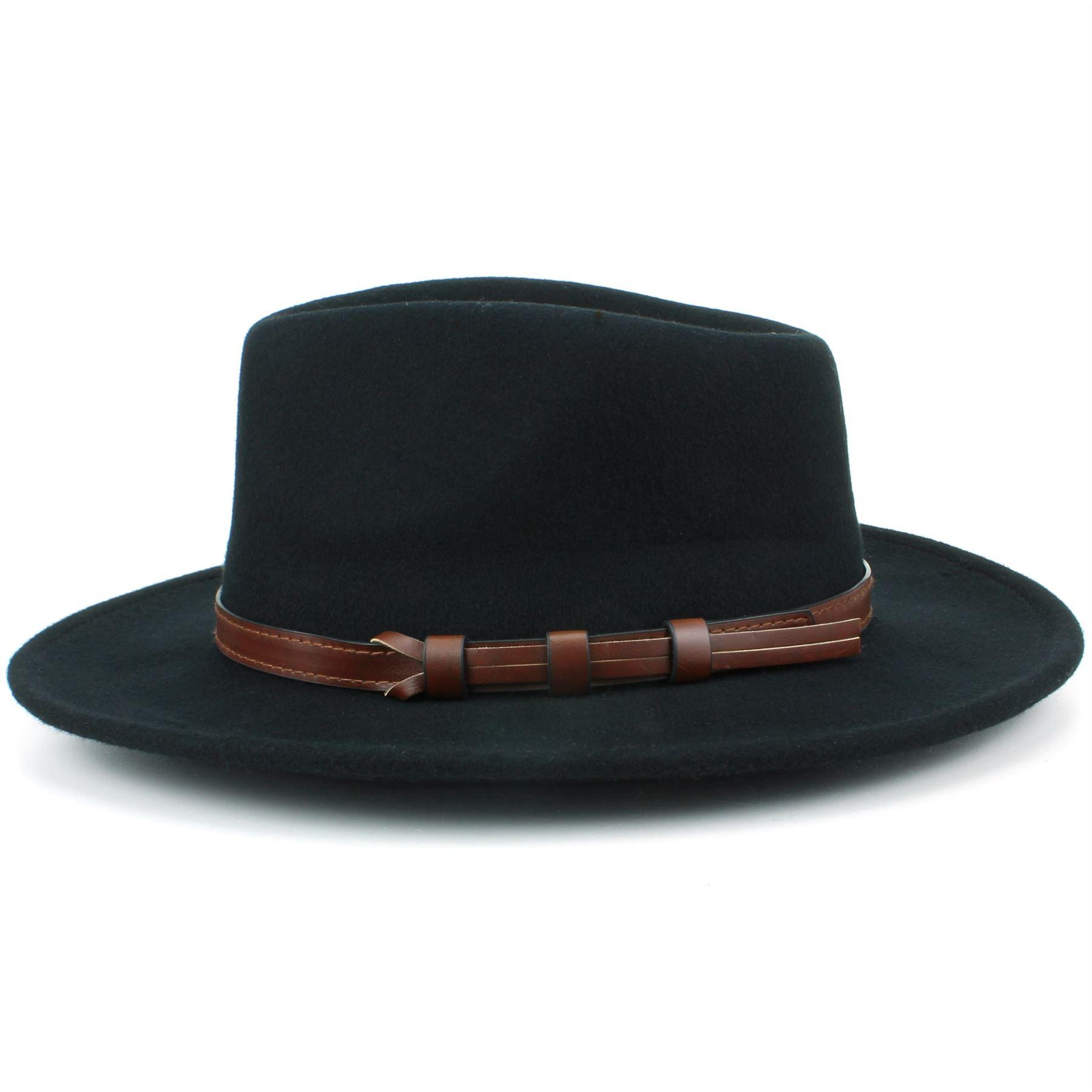 Fedora-Hat-Wool-BLACK-BROWN-Hawkins-Trilby-Brim-Mens-Ladies-Travel thumbnail 4