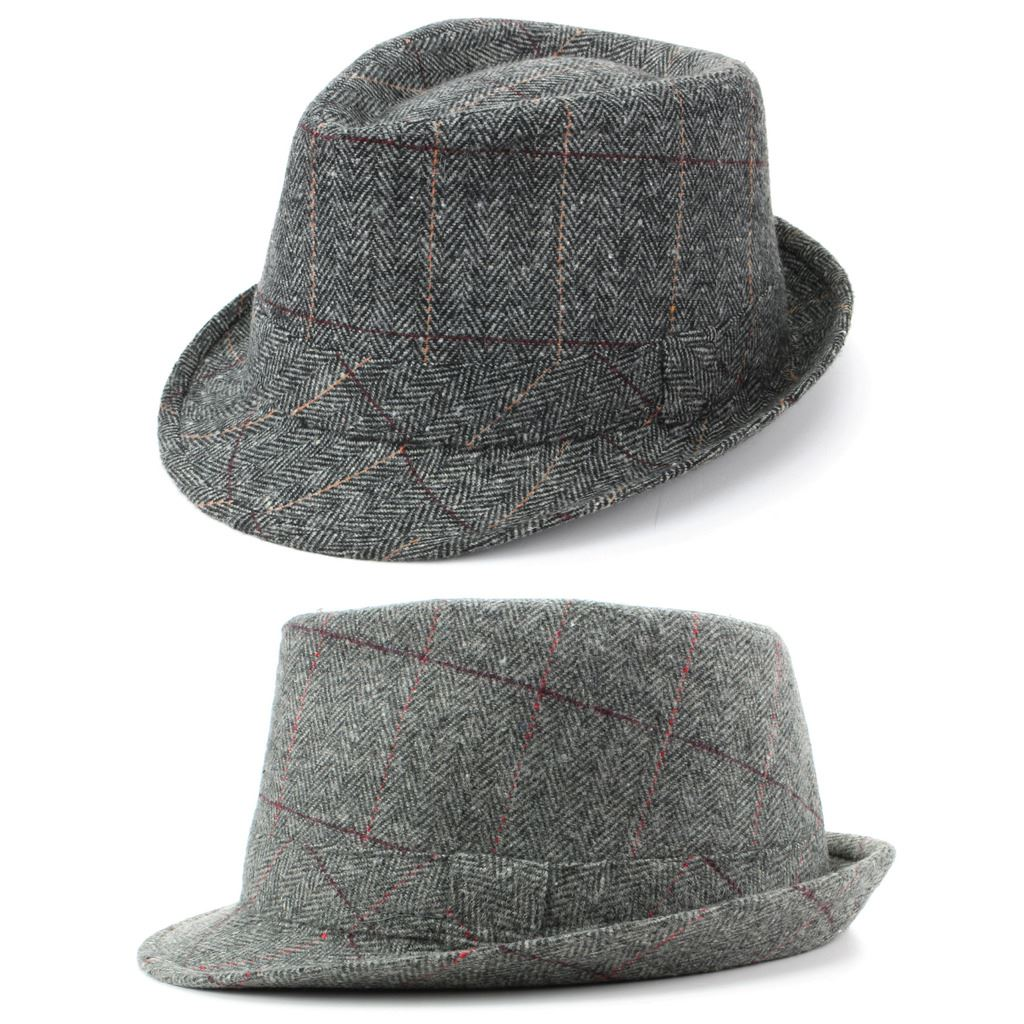 Details about Trilby Hat Wool Tweed Fedora Cap Mens Unisex Country Brim  Grey Check Hawkins 8bc7cc0c3b5