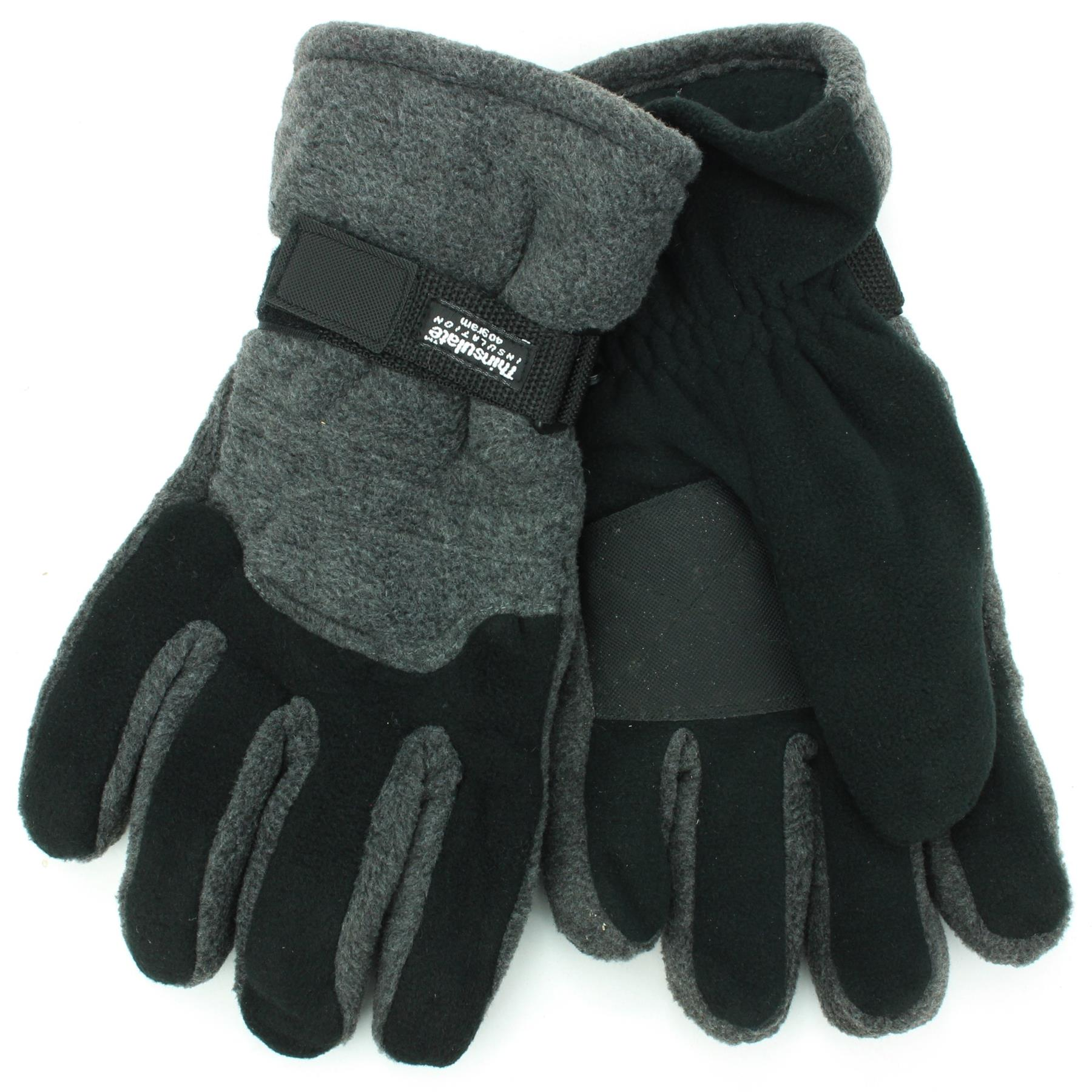 Mens Glove Thermal Winter Warm Fleece Lined Thinsulate Windproof Insulated Black
