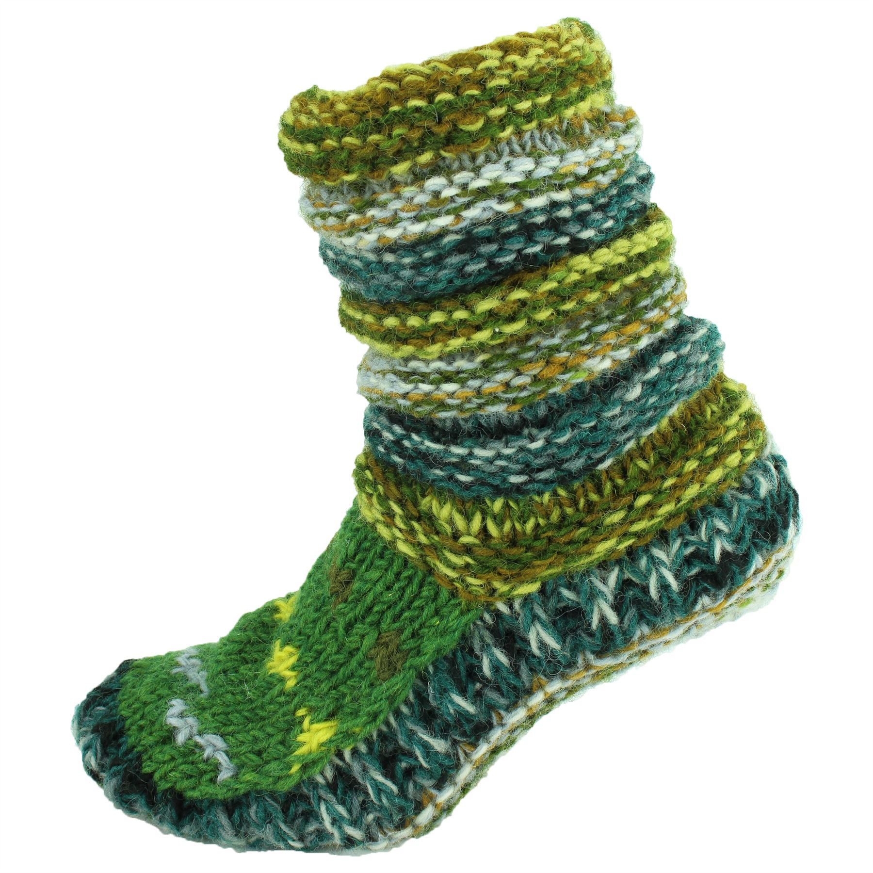 Kids Woolly Socks Booties Chunky Knit Winter Warm Bed Lined Nepalese Hippy Baby