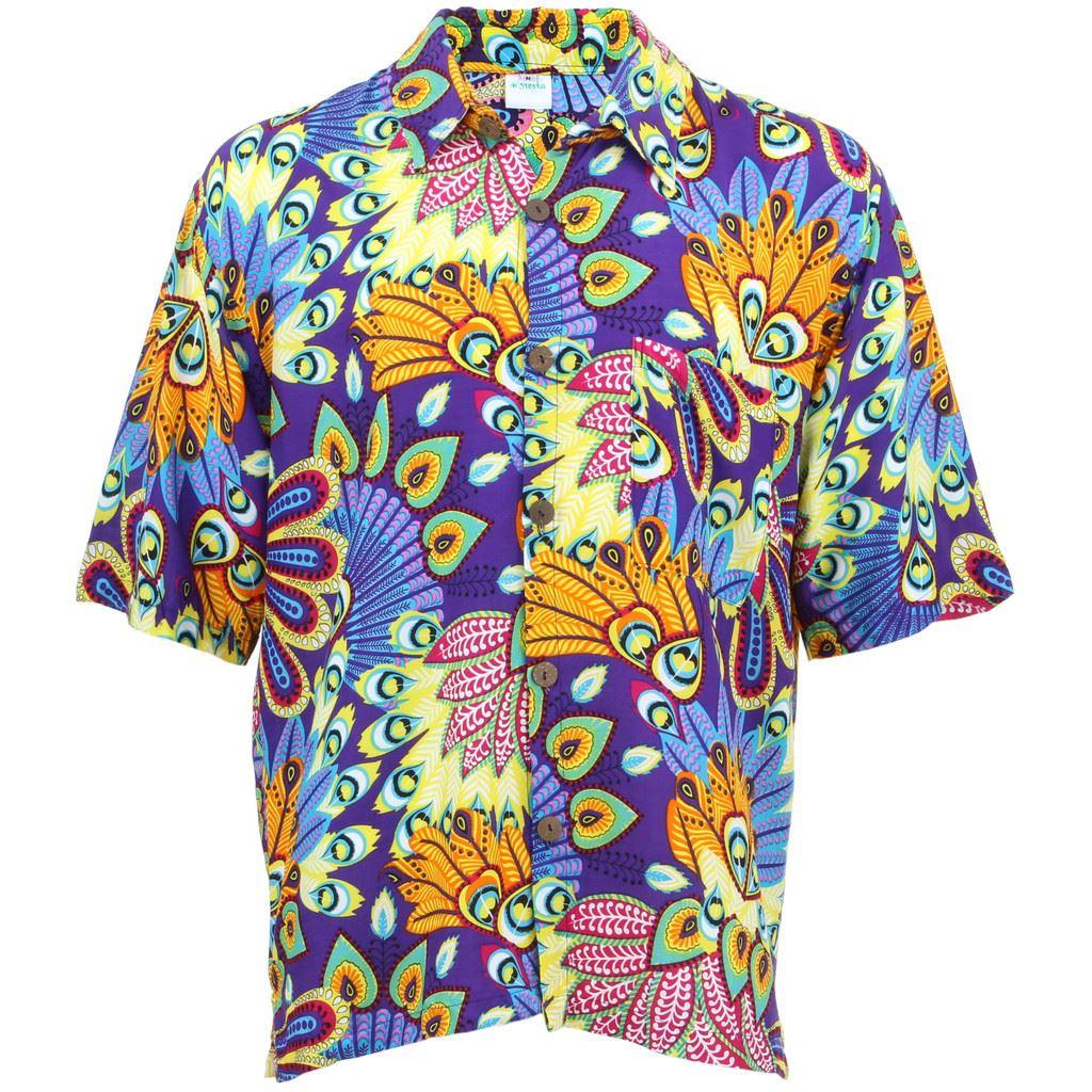 f0fe0bb7 Detalles acerca de Para hombres Camisa fuerte Retro Psicodélico Funky  Fiesta Hawaiano Tropical púrpura- mostrar título original