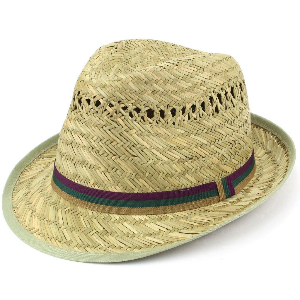 ed419f5331dbb Details about Trilby Hat Straw Fedora Cap Mens Unisex Brim Travel Hawkins  BAND COLOURS
