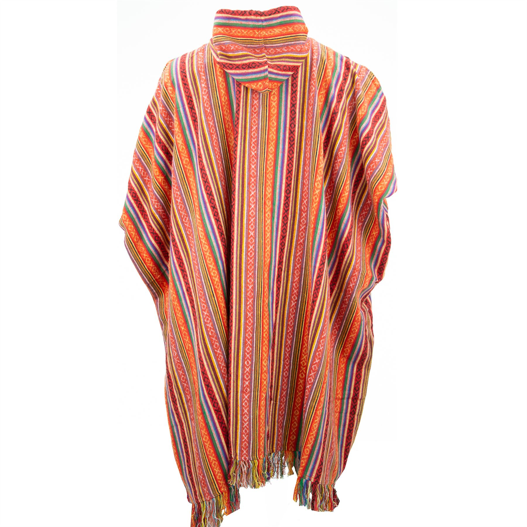 Poncho-Hooded-Cape-Cotton-Warm-Festival-Long-Woven-Rainbow-Men-Women thumbnail 3