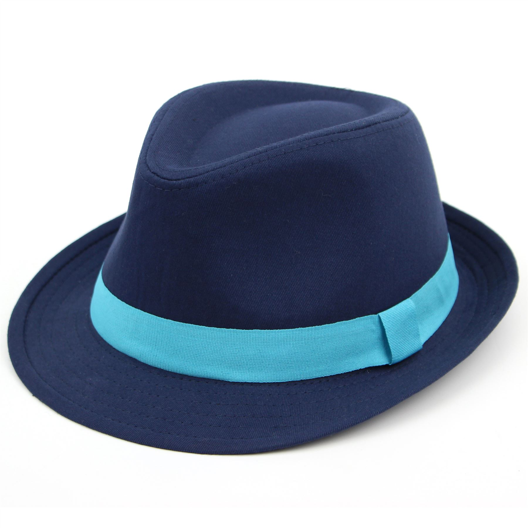 Details about Fedora Hat Cotton Bright Coloured Blue Pink Black New Band  Brim Cap Hawkins 5a6646fdce7