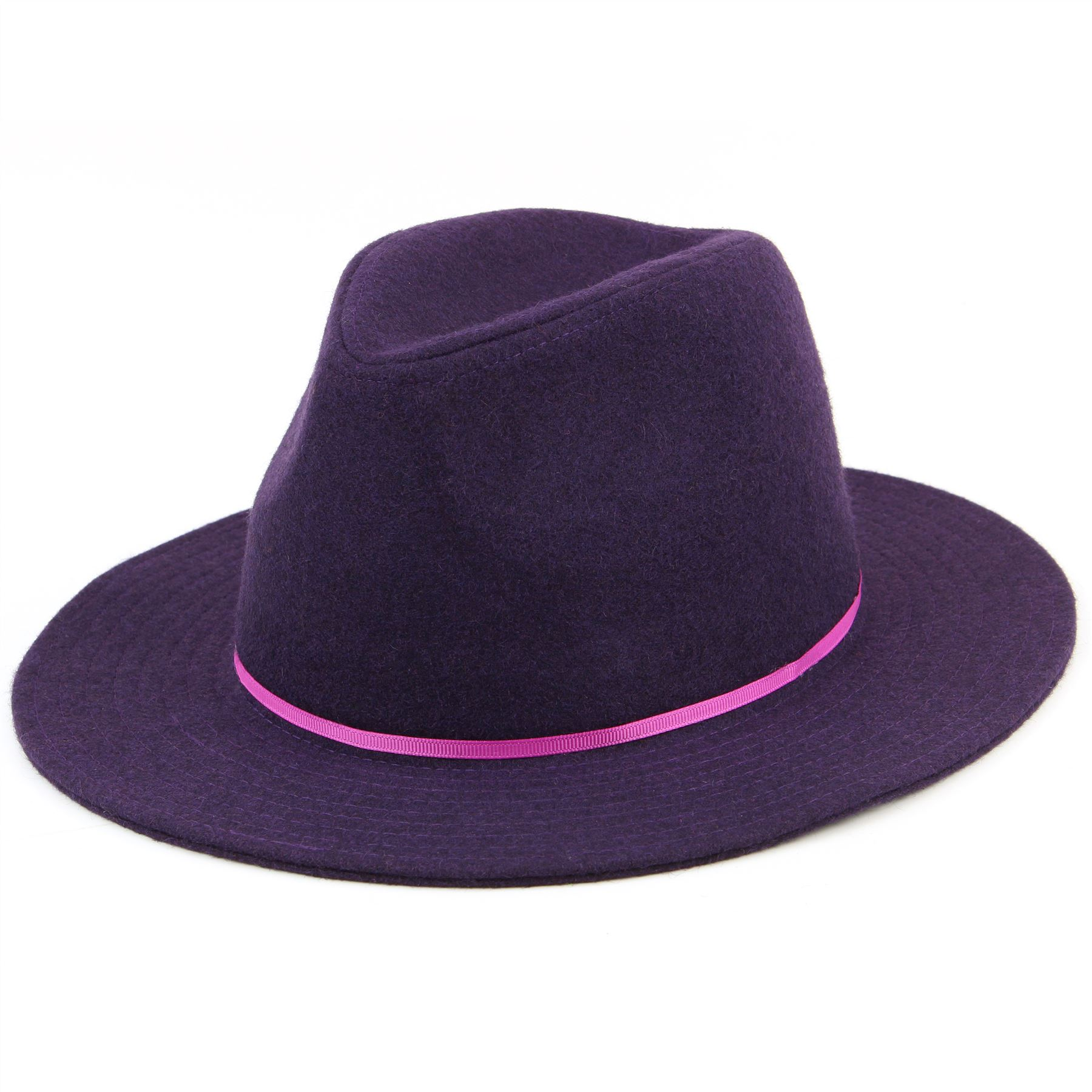 8f63157e Wool Fedora Hat Hawkins Womens Ladies Brim Black Purple Brown Cap | eBay