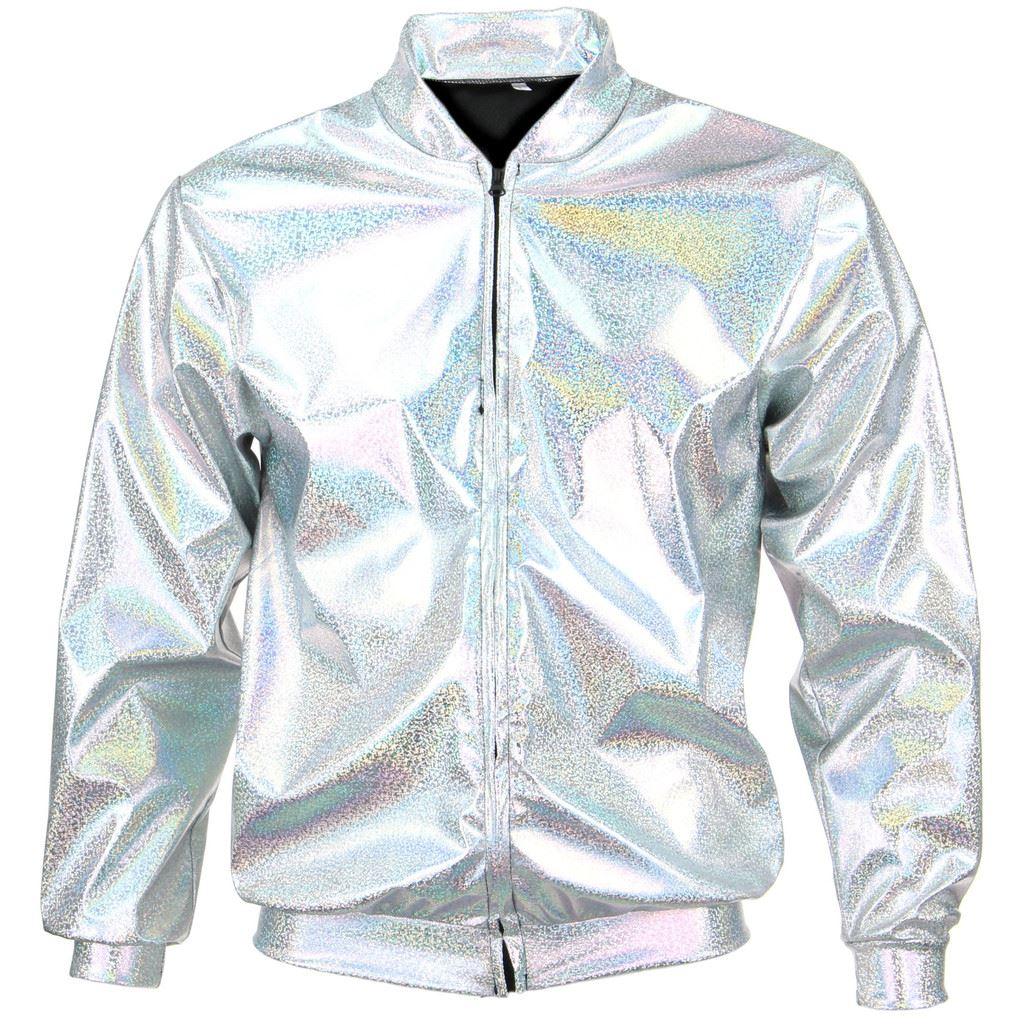 Bomber-Jacket-Shiny-Unisex-Ladies-Men-FIREFLY-Sparkly-GOLD-SILVER-RAINBOW-PURPLE thumbnail 7
