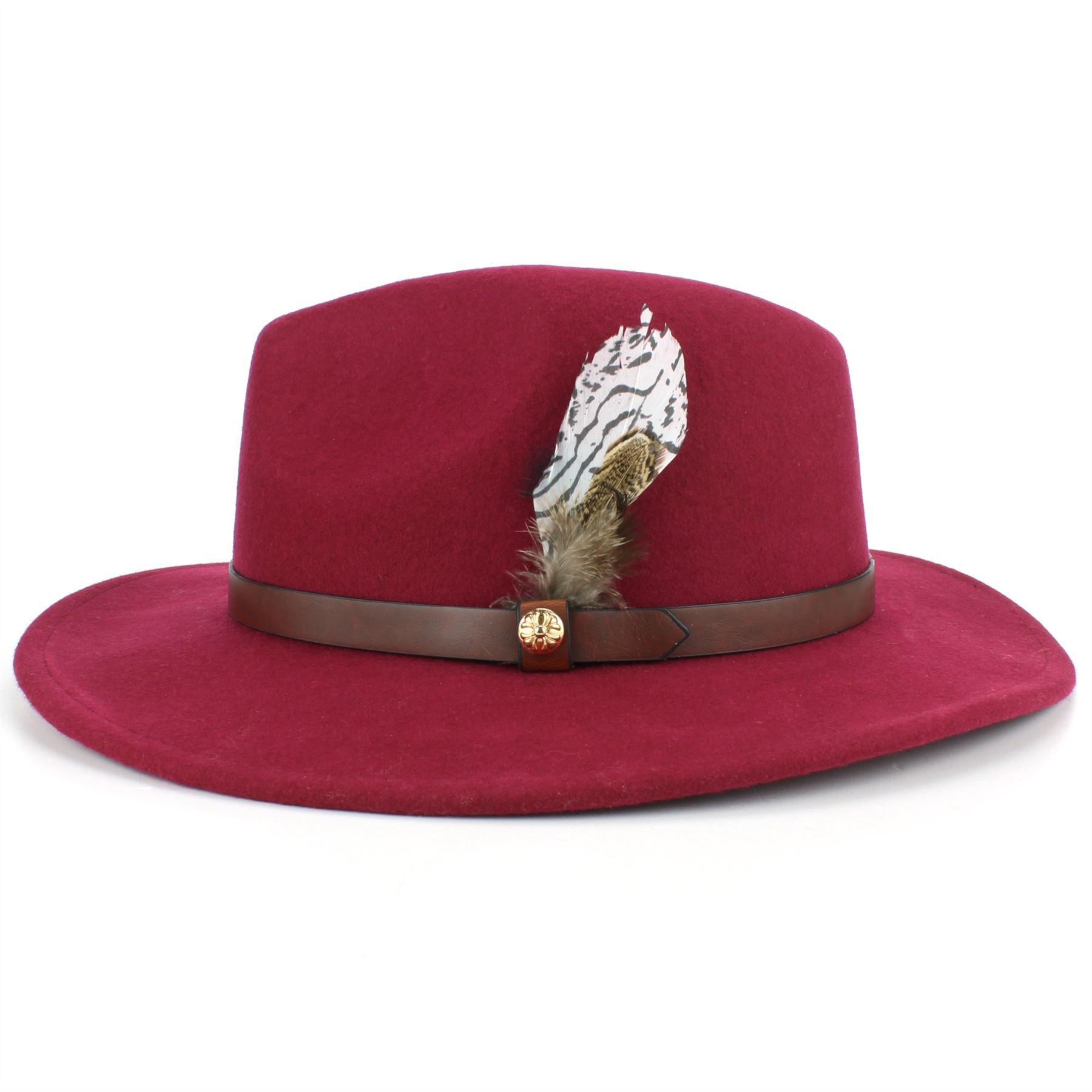 Fedora-Hat-Wool-Felt-Hawkins-Feather-Band-Trilby-Ladies-Men-Travel-Brim-Travel thumbnail 24