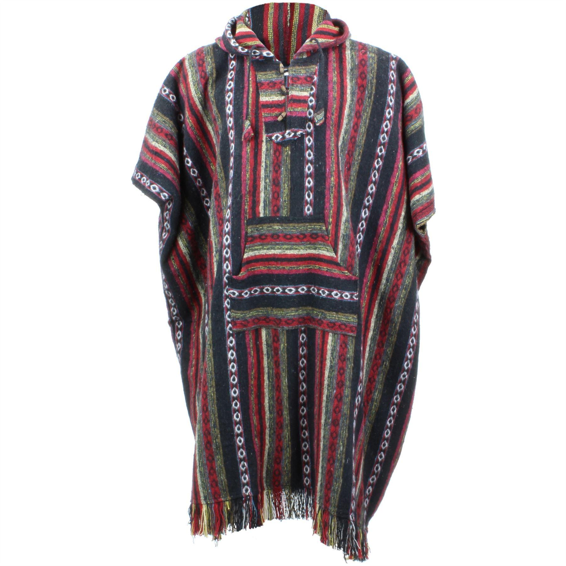 Favorite Poncho Hooded Cape Cotton LOUDelephant Warm Festival Woven Men  JE38