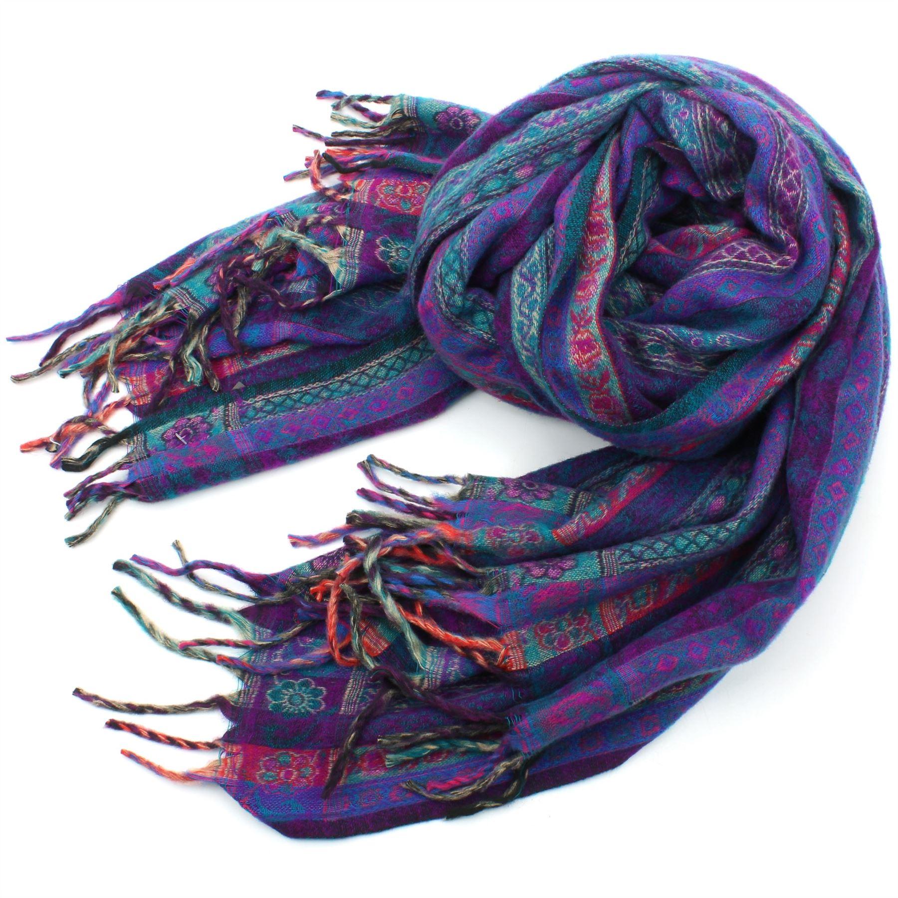 Acrylic-Wool-Blanket-Shawl-Wrap-Throw-Finest-Softest-India-Stripe-Paisley-Travel thumbnail 25