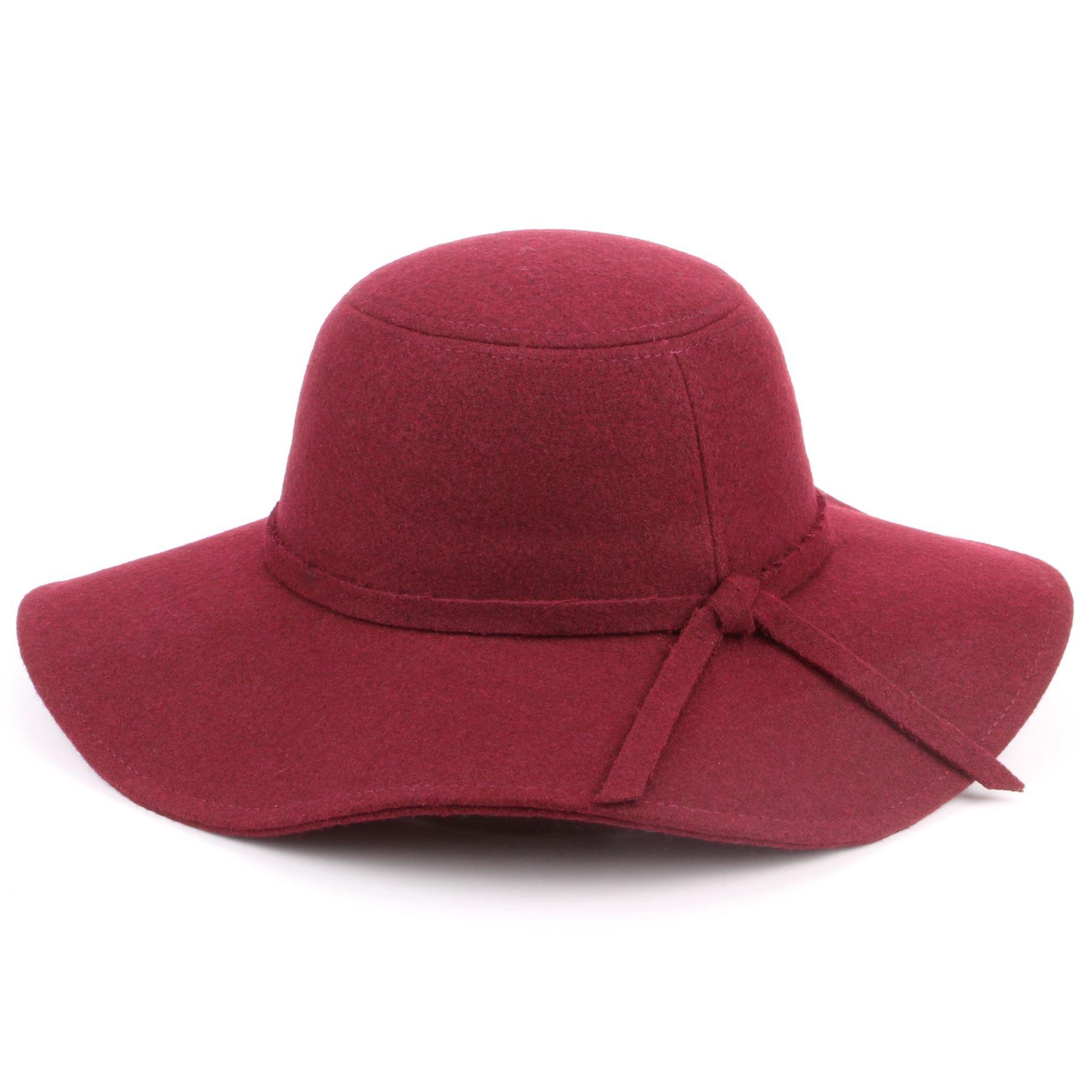 a03c6120f03ea Details about Wool Felt Floppy Hat Wide Brim Hawkins Cloche Fedora Cap  Cloche Ladies