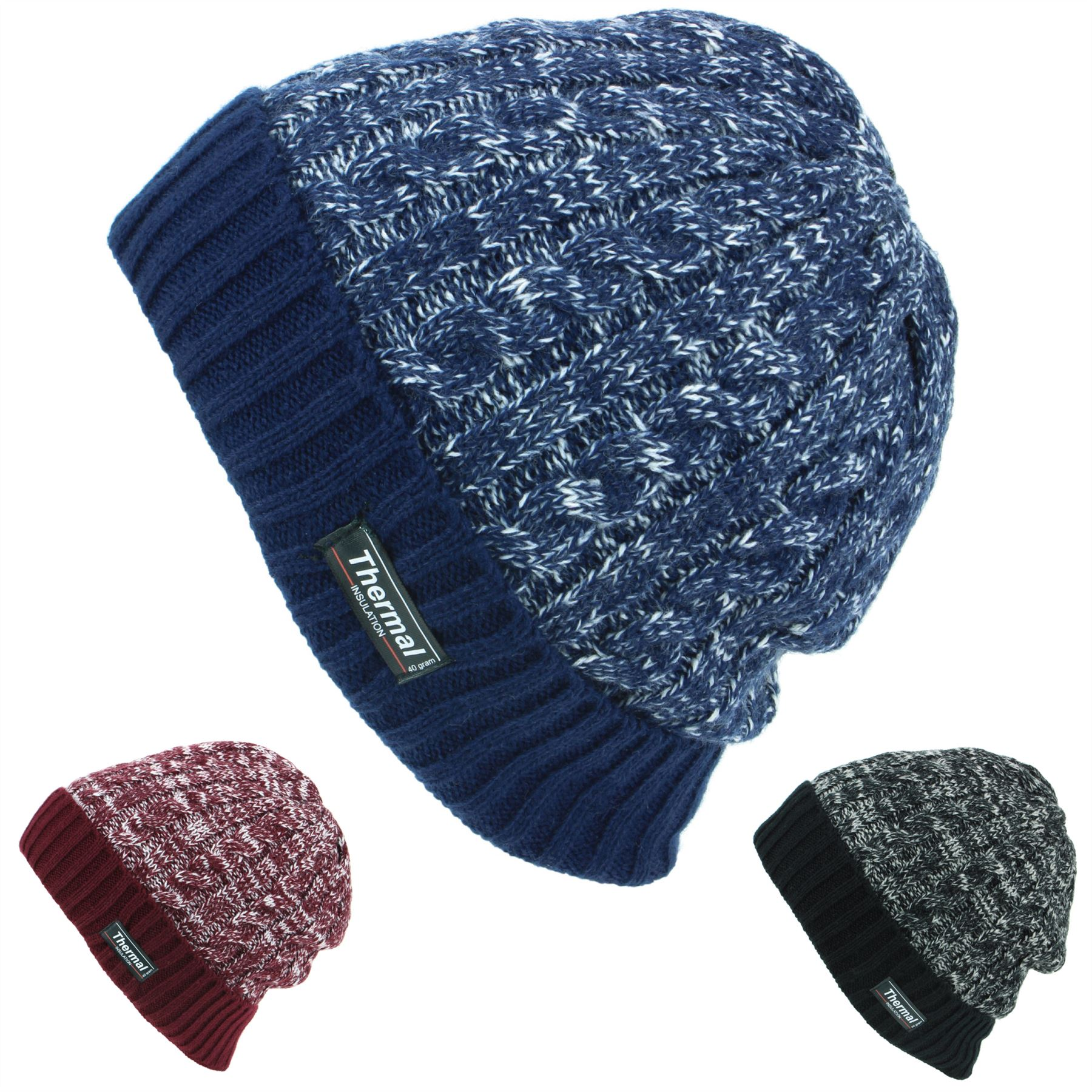 d89d4c20b67 Details about Beanie Hat Cap Warm Winter BLACK BLUE MAROON Thinsulate 3M  Men Ladies Knit Ski