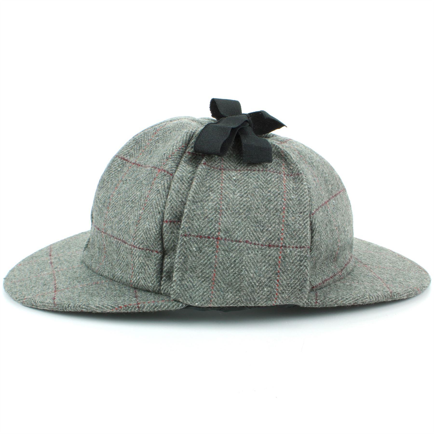 2bf49fd8299 Deerstalker Hat Herringbone Tweed Sherlock Holmes Grey Flat Cap ...