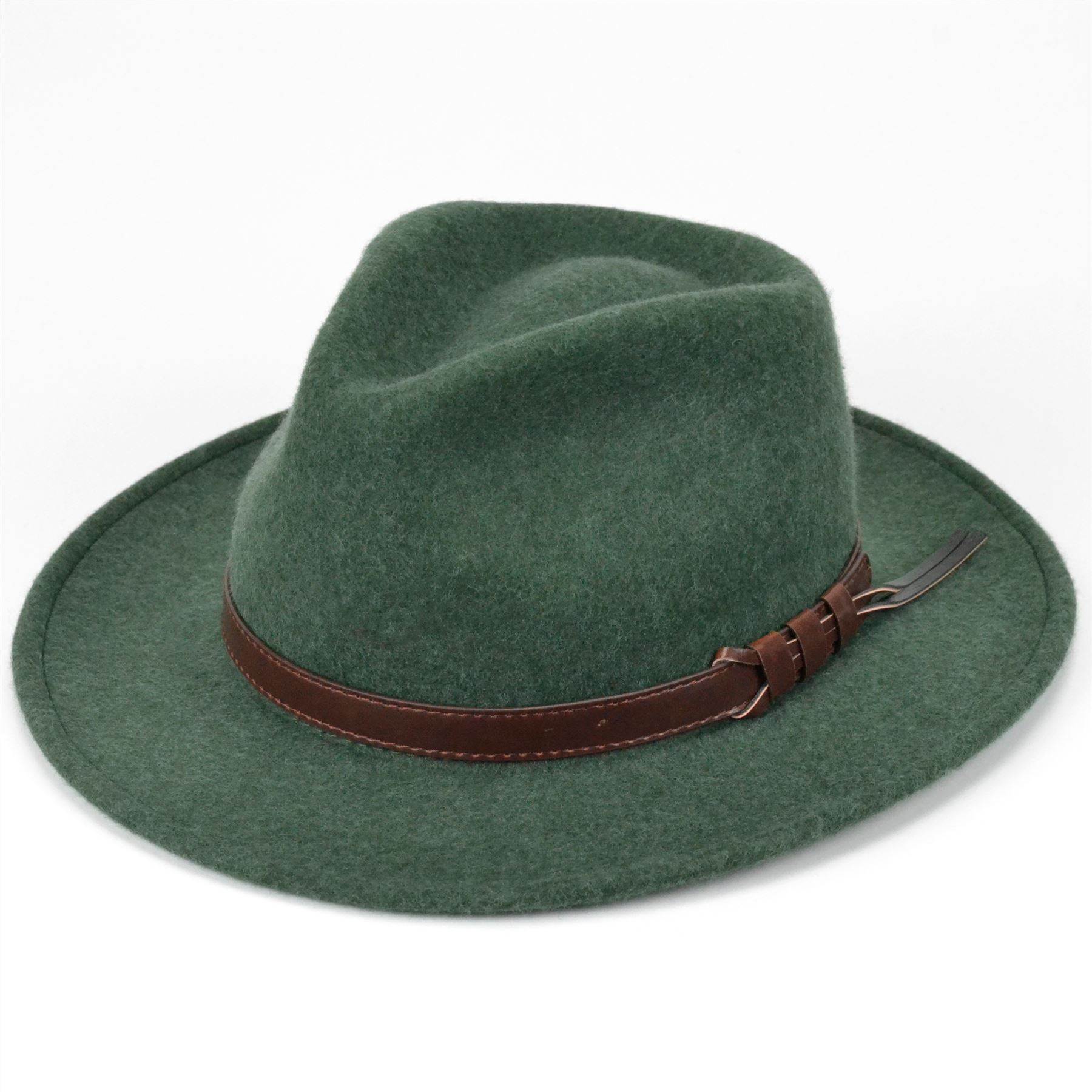 e29f51a316d14 Details about Wool Fedora Hat Felt Hawkins Cap Trilby Men Ladies Unisex  GREEN