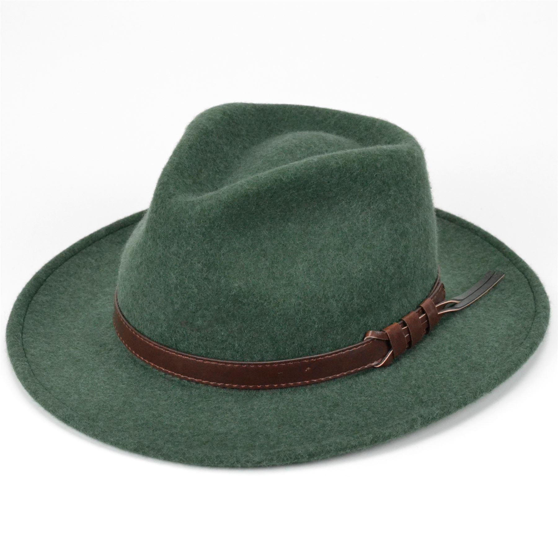 Details about Wool Fedora Hat Felt Hawkins Cap Trilby Men Ladies Unisex  GREEN 8c677e08d63