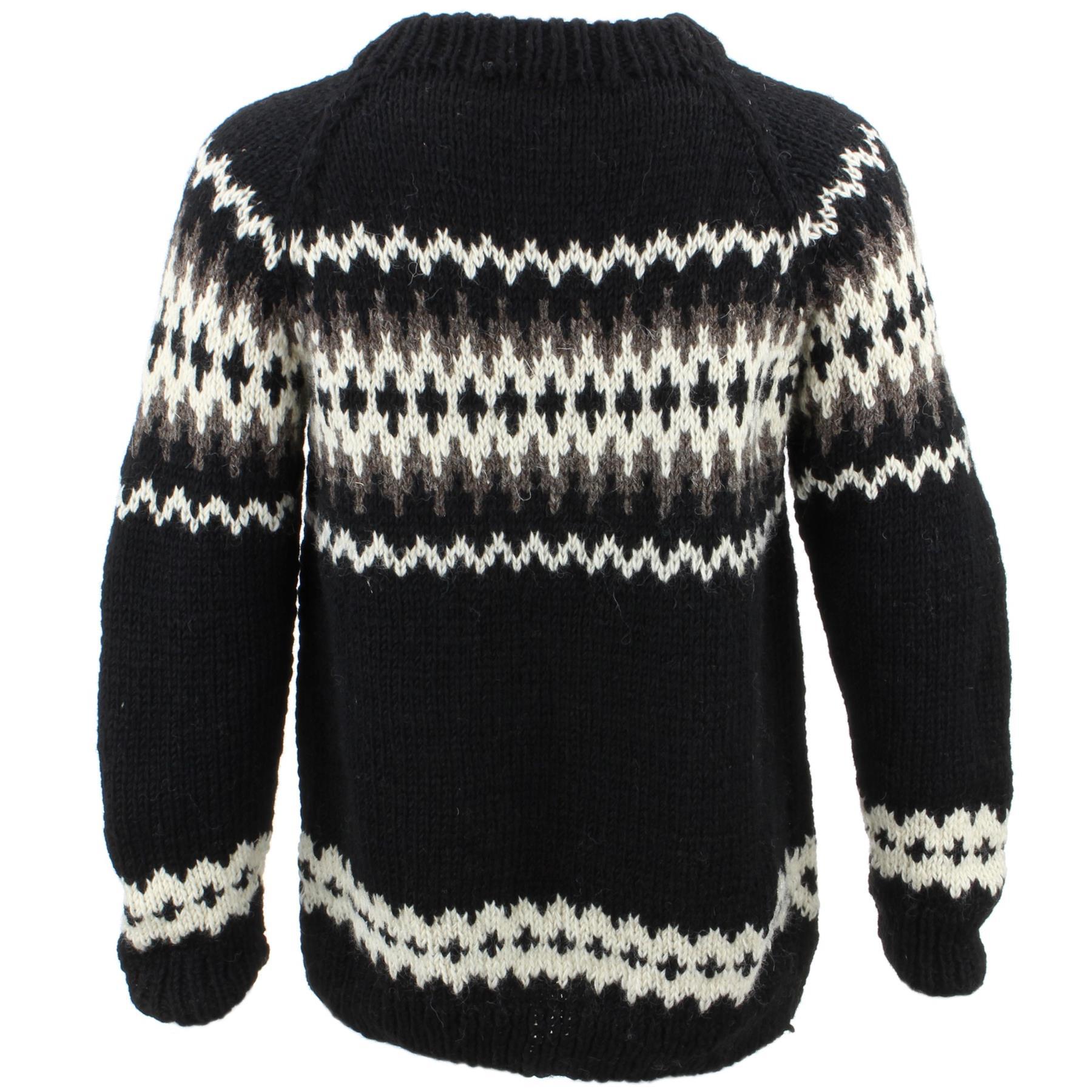 thumbnail 22 - Wool Knit Jumper Sweater Pullover Fairisle Nordic Abstract Warm Nepal Loose