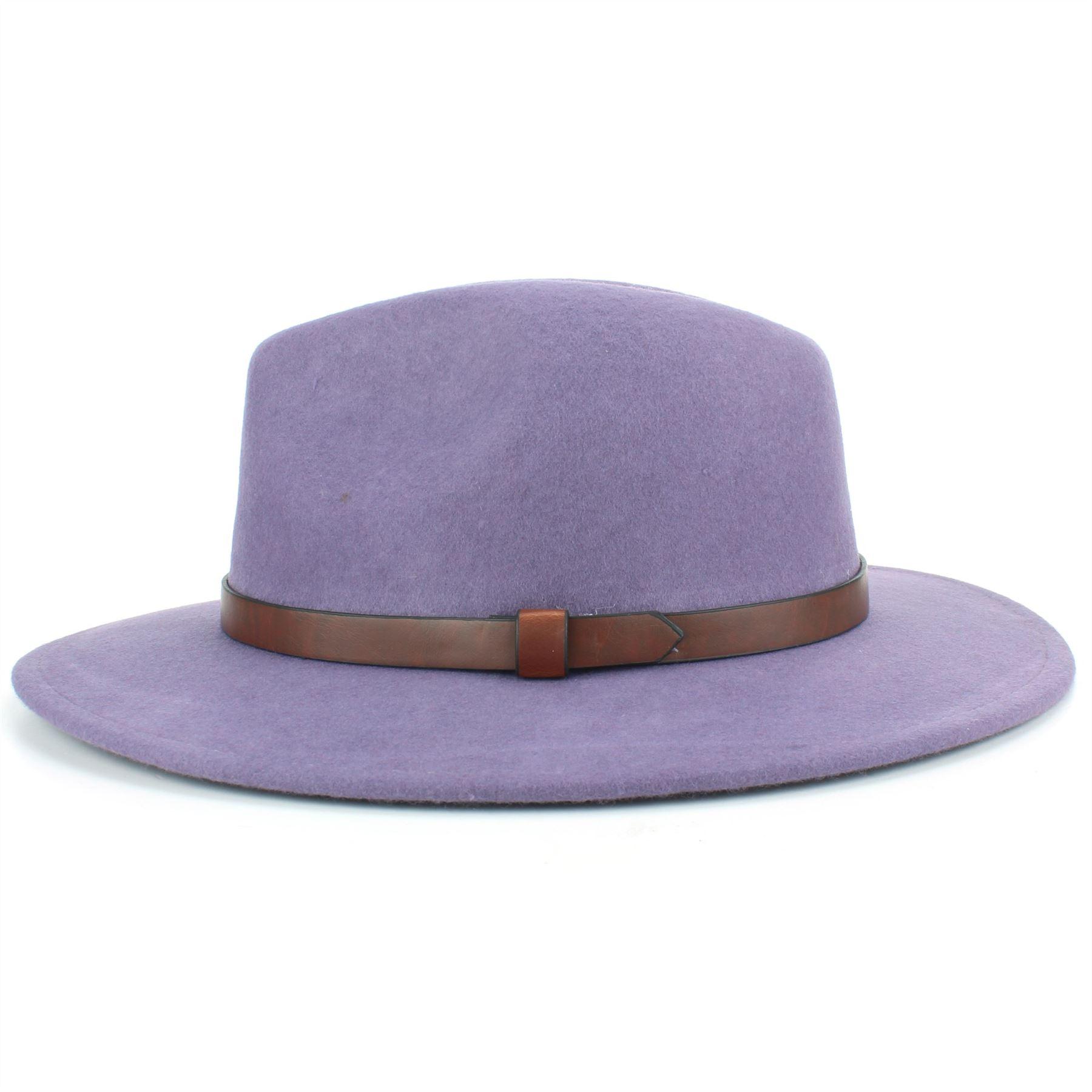 Fedora-Hat-Wool-Felt-Hawkins-Feather-Band-Trilby-Ladies-Men-Travel-Brim-Travel thumbnail 8