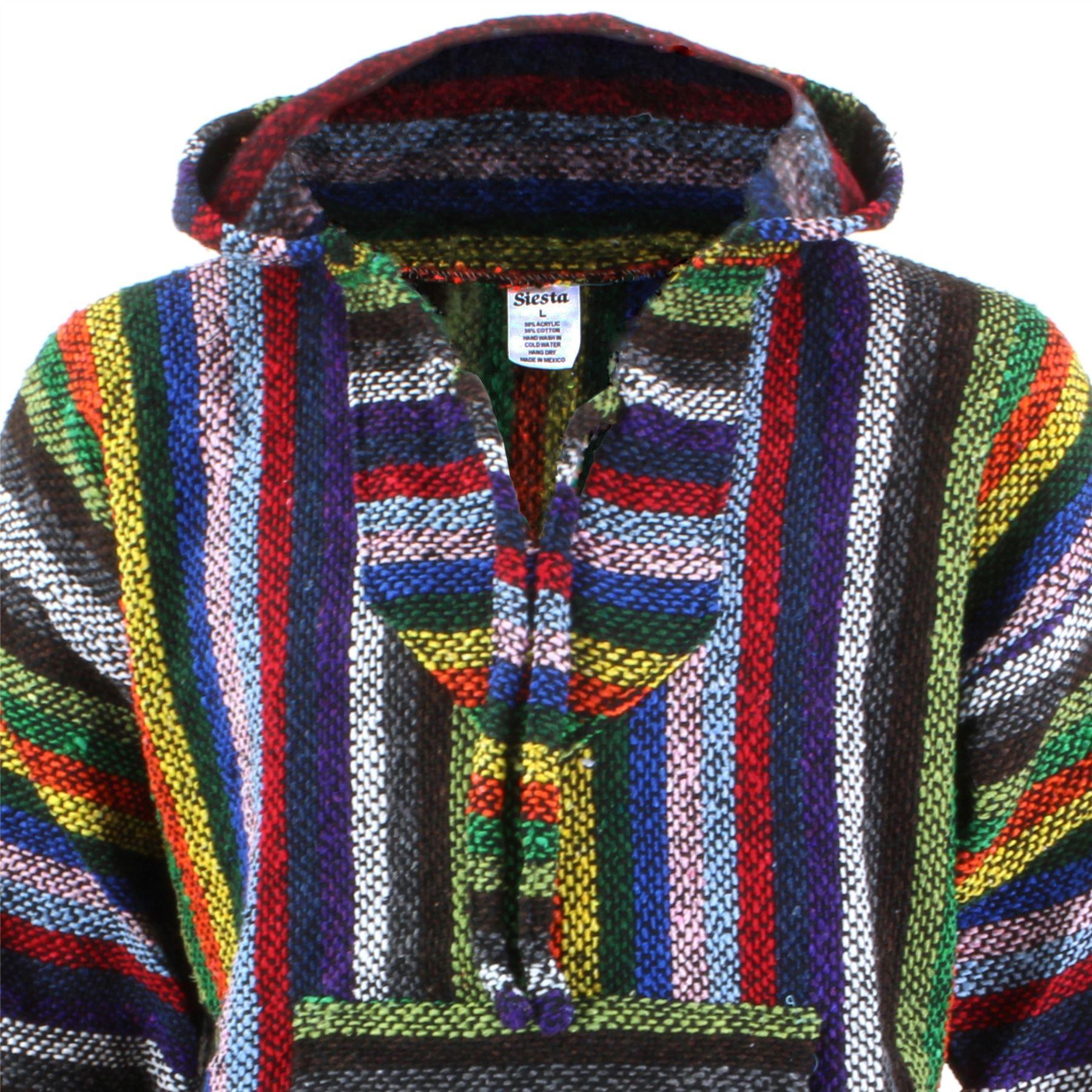 Mexican-Baja-Hoodie-Hoody-Jerga-Rug-Jumper-Siesta-Surf-Hippy-Baha-Pullover thumbnail 19