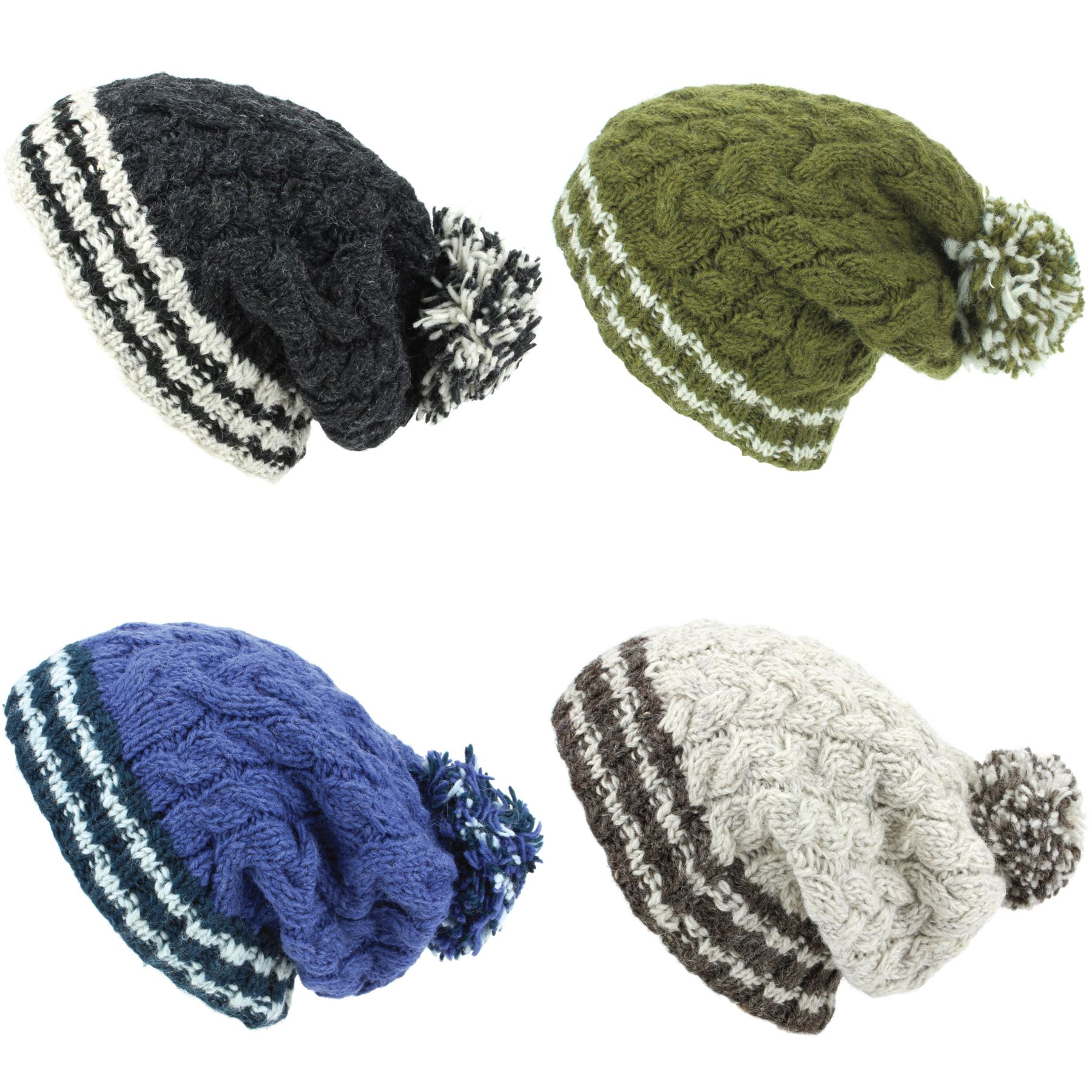 458ee9a0b5b Details about Chunky Wool Knit Beanie Bobble Hat Men Ladies Warm Winter Big Slouch  Baggy Lined