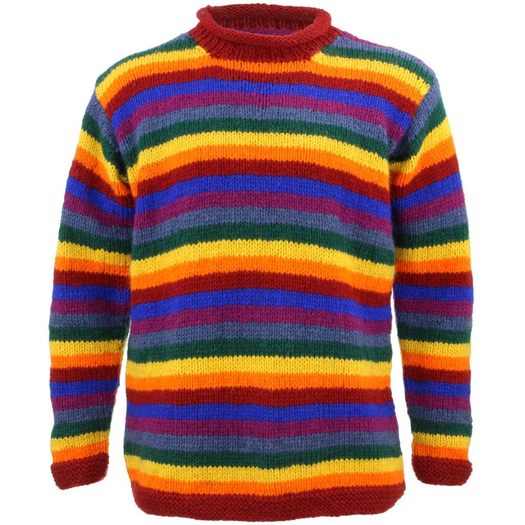 Wool Jumper Star Chunky Knit Knitted Sweater Pullover Rolled Rainbow Black