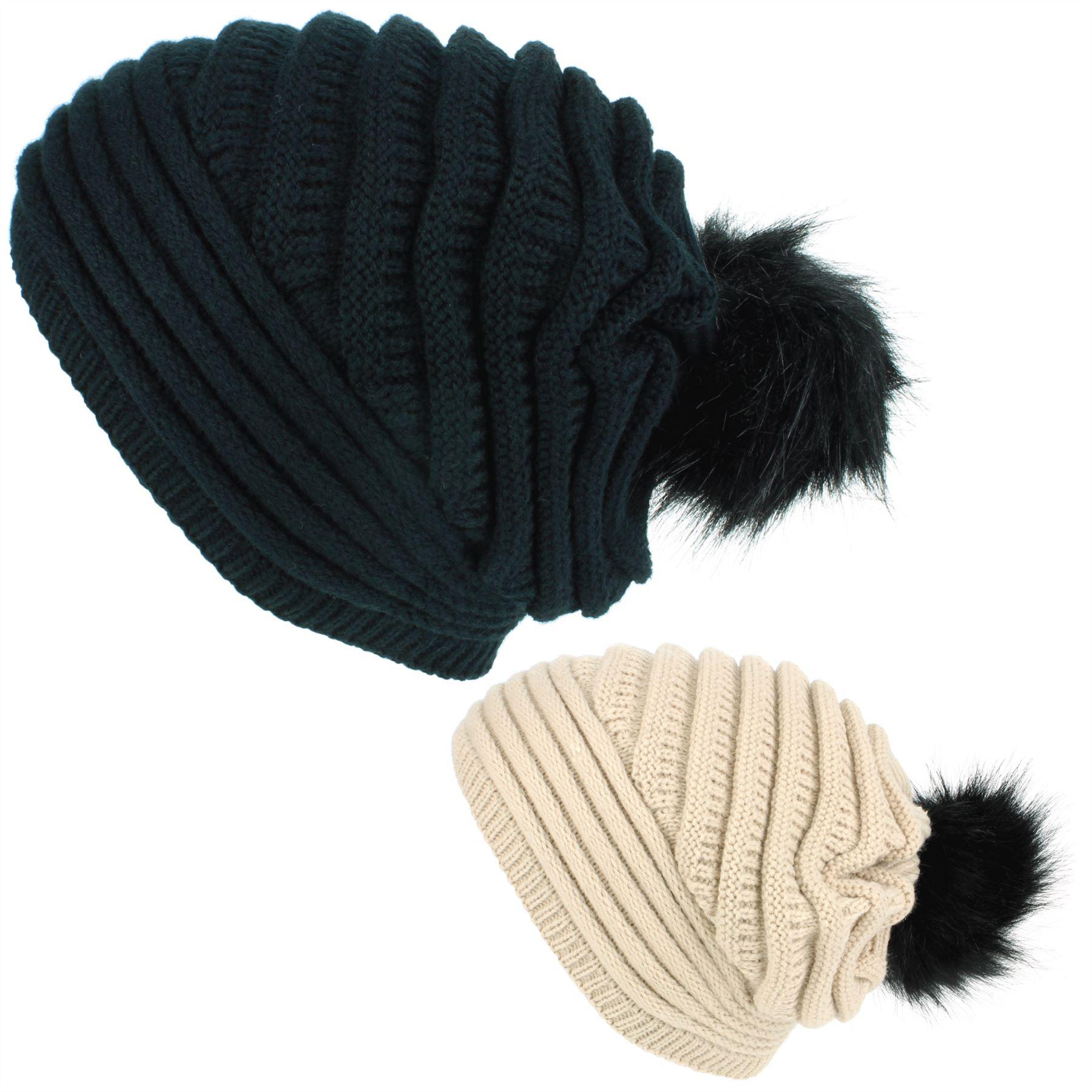 632ab8dc8ed Beanie Hat Cap Bobble Slouch Warm Winter BLACK BEIGE Macahel Ladies ...