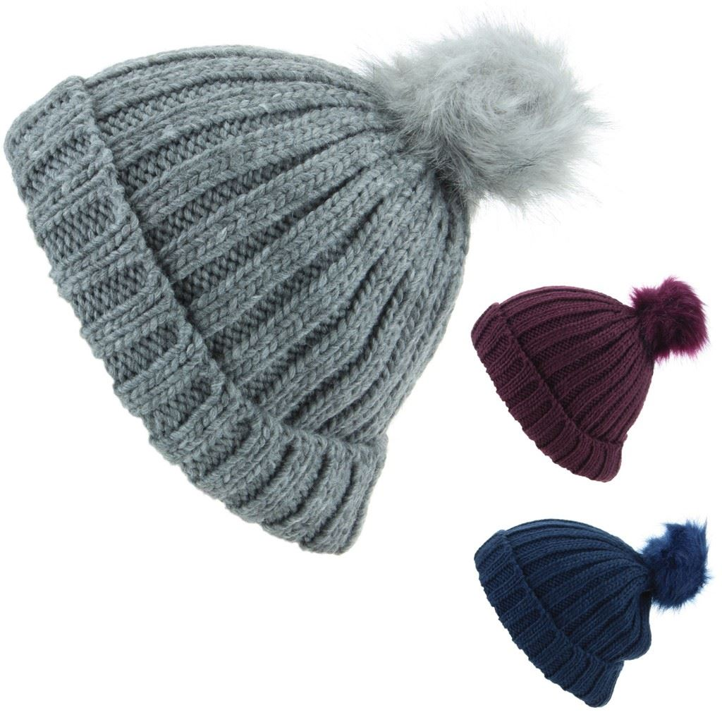 Details about Hat Chunky Knit Rib Cable Beanie Fur New Bobble Ski Grey Navy  Purple Mens Womens 28dd0e8dde6