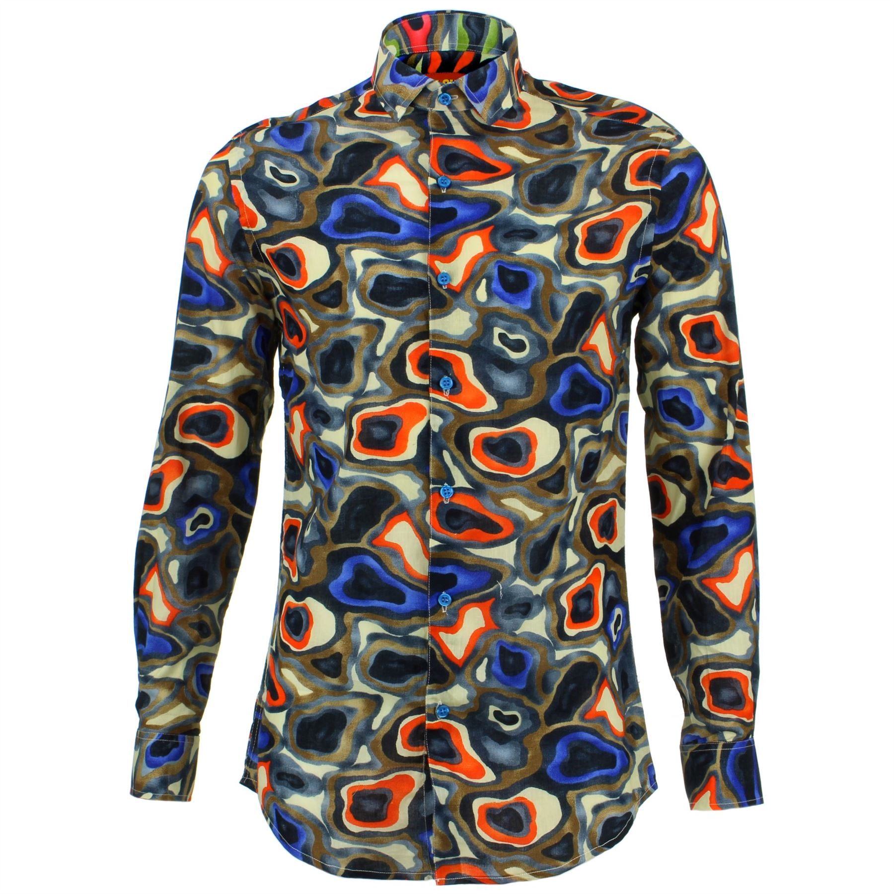 Mens Shirt Loud Originals TAILORED FIT Camouflage Blue Retro Psychedelic Fancy