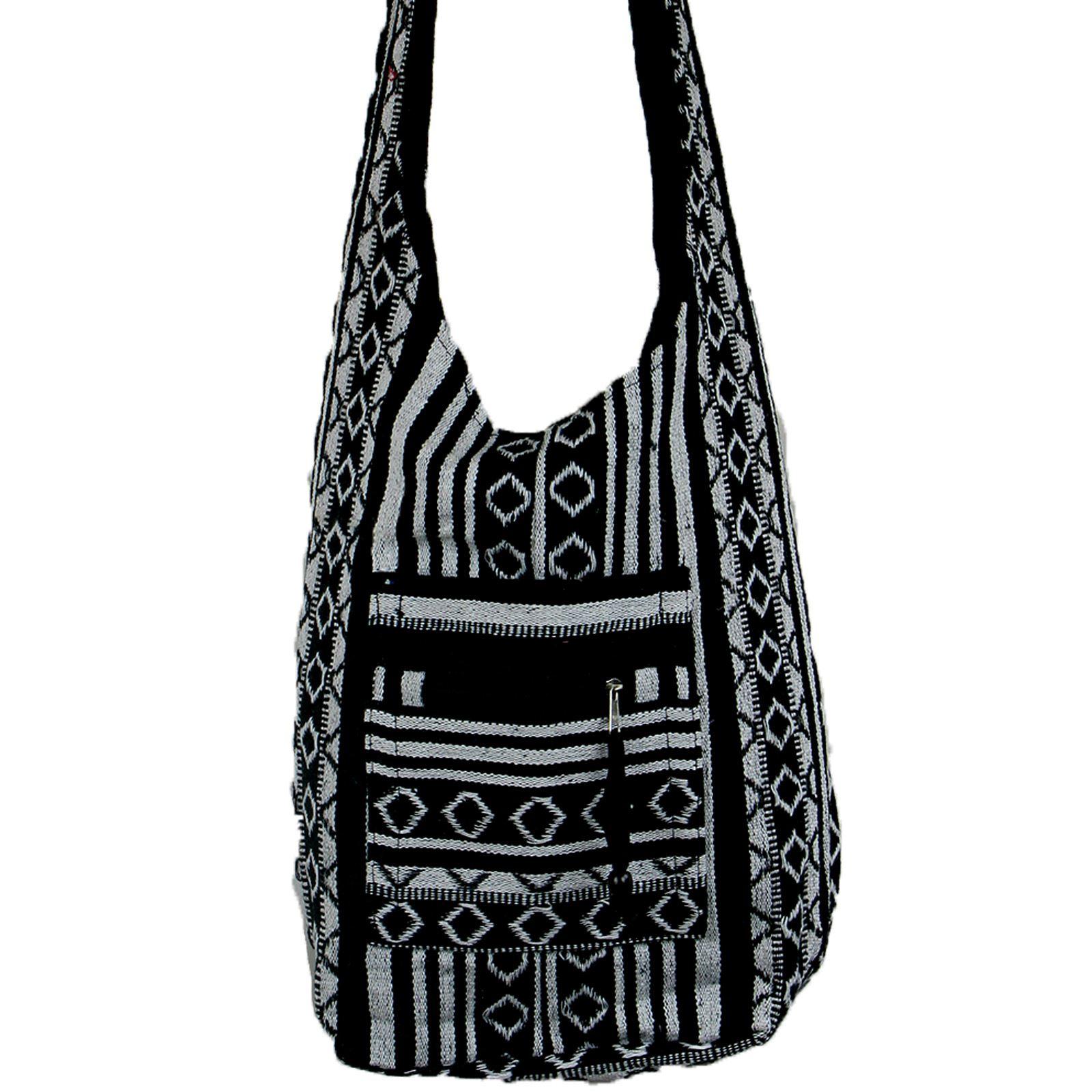 143d2caed35 Black Diamond Pattern Hippie Festival Cotton Canvas Shoulder Bag   eBay