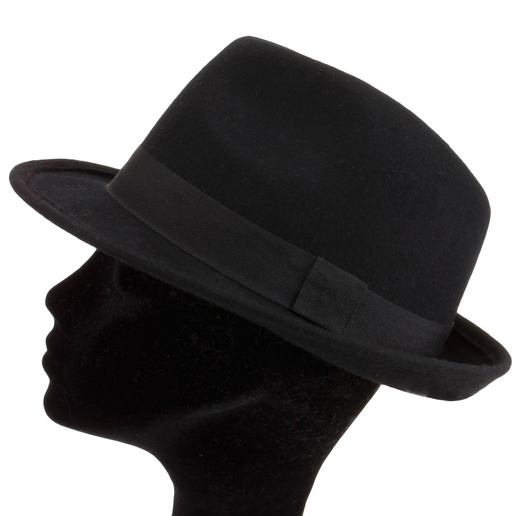 TRILBY HAT 100% WOOL FELT WITH GROSGRAIN BAND FEDORA BLACK or BROWN ... bf5719199a29