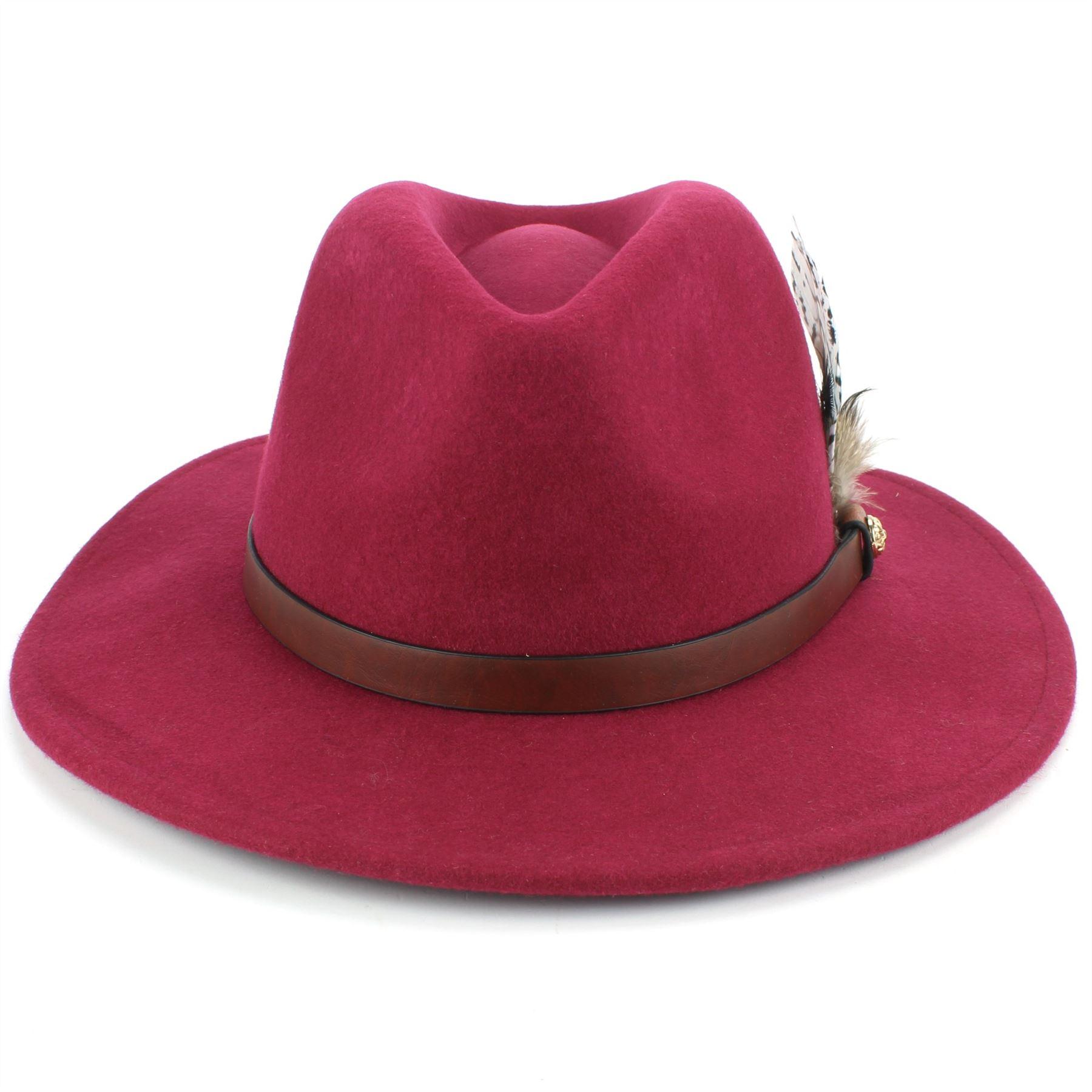 Fedora-Hat-Wool-Felt-Hawkins-Feather-Band-Trilby-Ladies-Men-Travel-Brim-Travel thumbnail 23