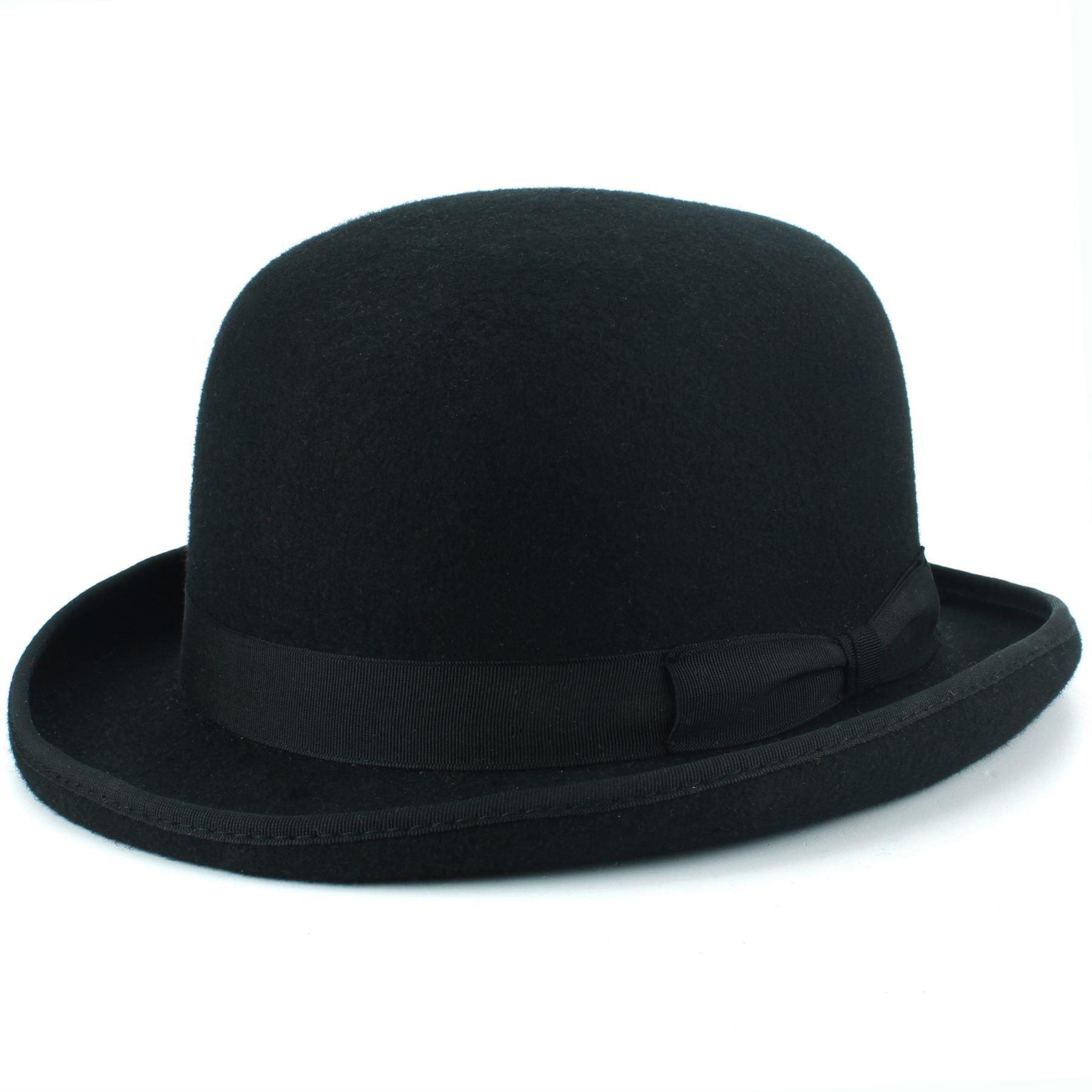 ba8784d9 Details about Wool Felt Bowler Hat Derby BLACK Hard Costume Hawkins Fedora  Men Women
