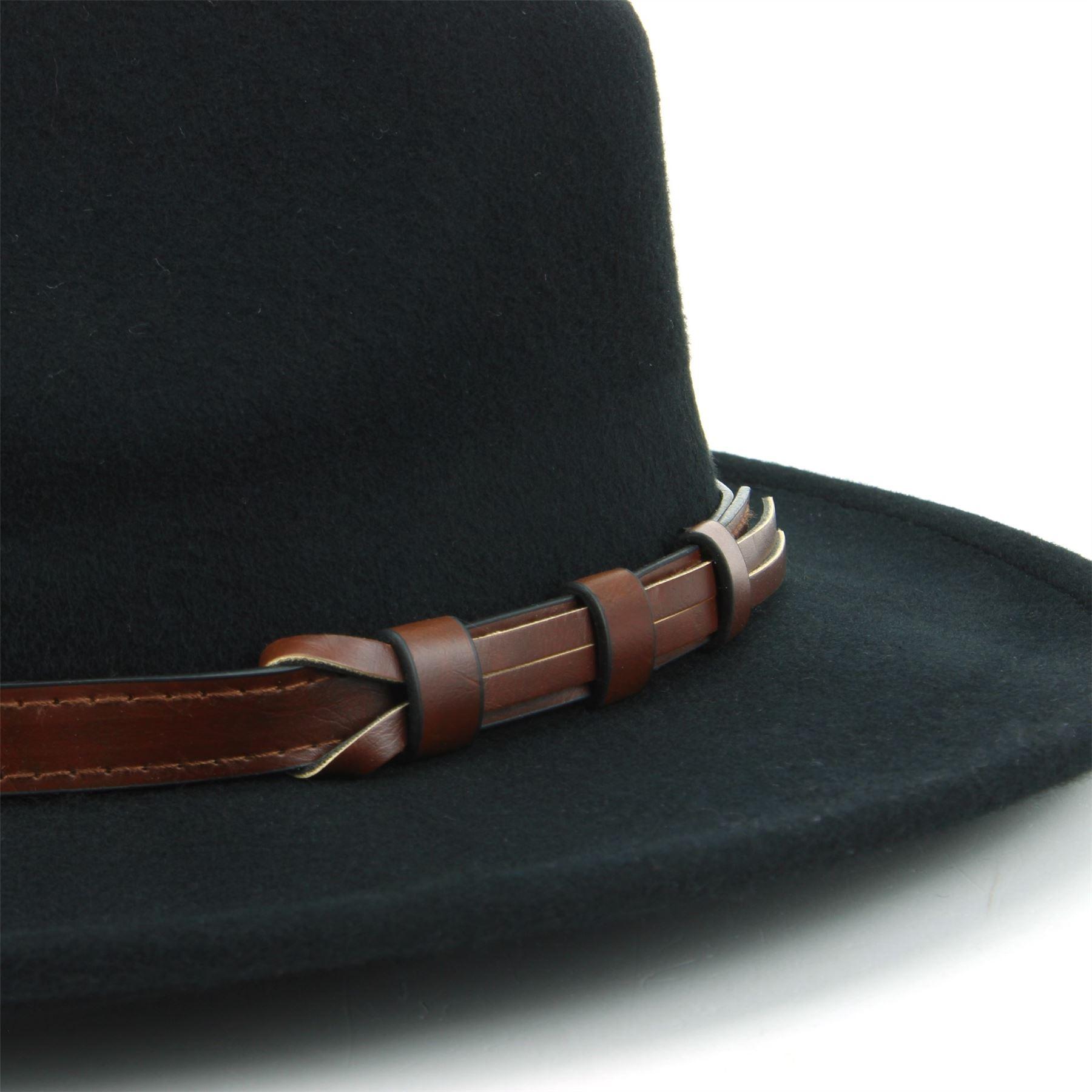 Fedora-Hat-Wool-BLACK-BROWN-Hawkins-Trilby-Brim-Mens-Ladies-Travel thumbnail 5