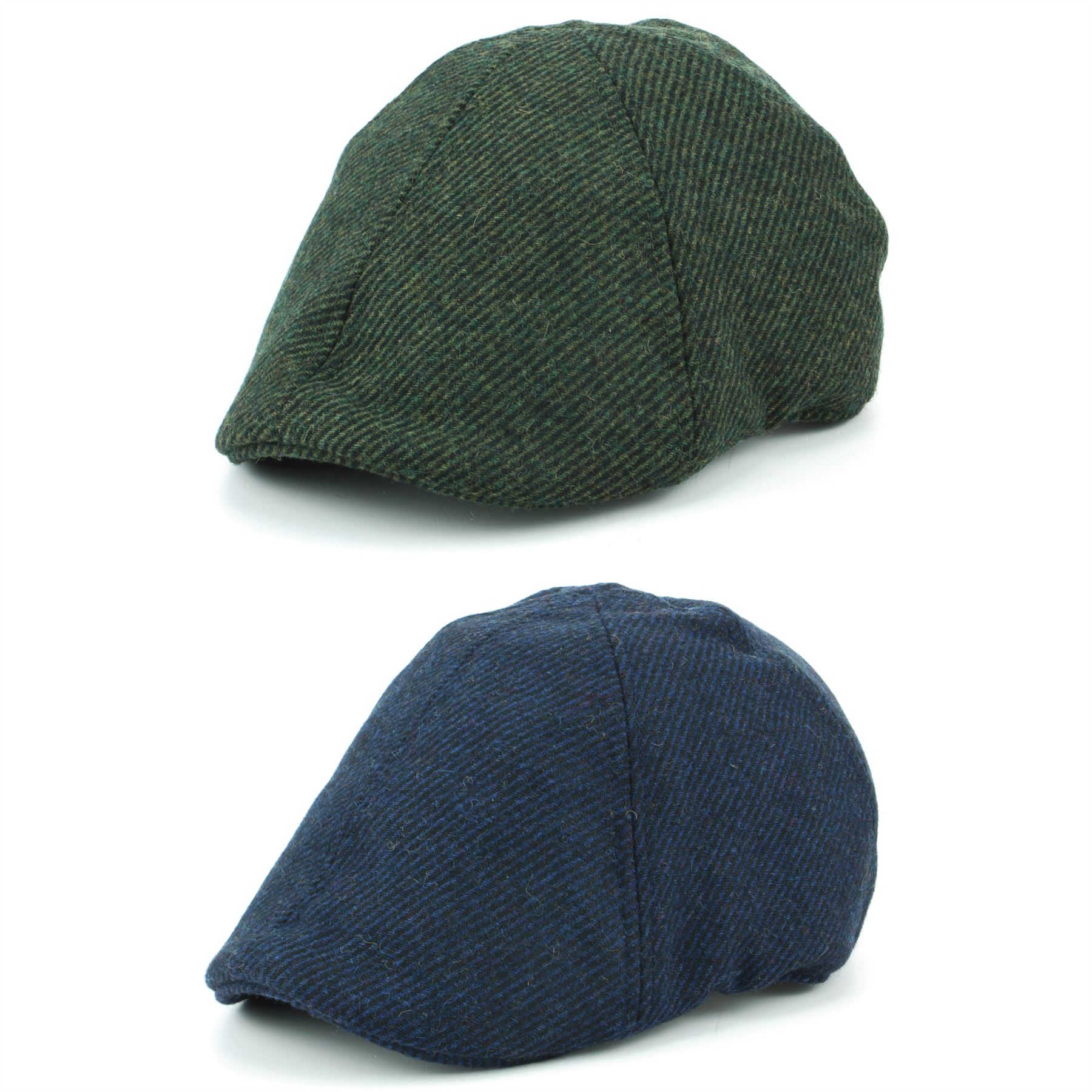 Duckbill Flat Cap Hat Wool Hawkins BLUE GREEN Driving Tweed Quilted ... a7d9fa56916